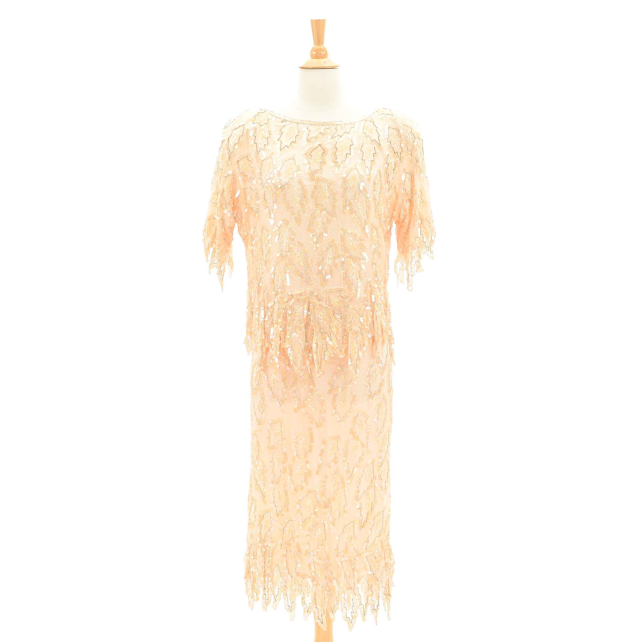 Women's Vintage Beaded and Sequined Blush Silk Two-Piece Dress By Scala