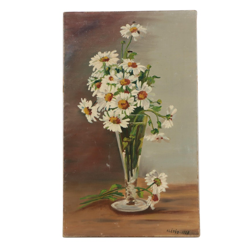 1928 Alepee Oil Painting Of Daisies In A Vase Ebth