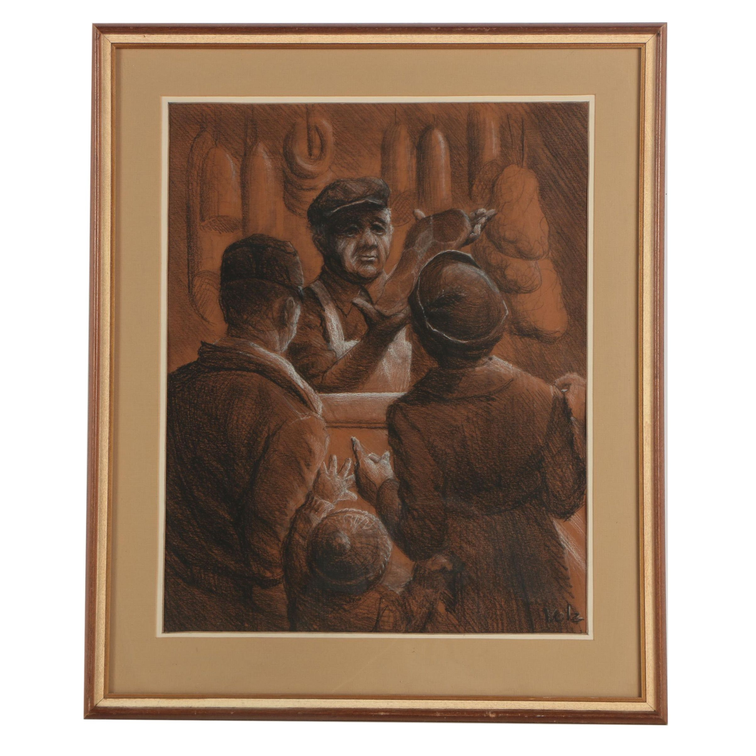 Herman Volz Signed Charcoal Drawing of Family at the Butcher