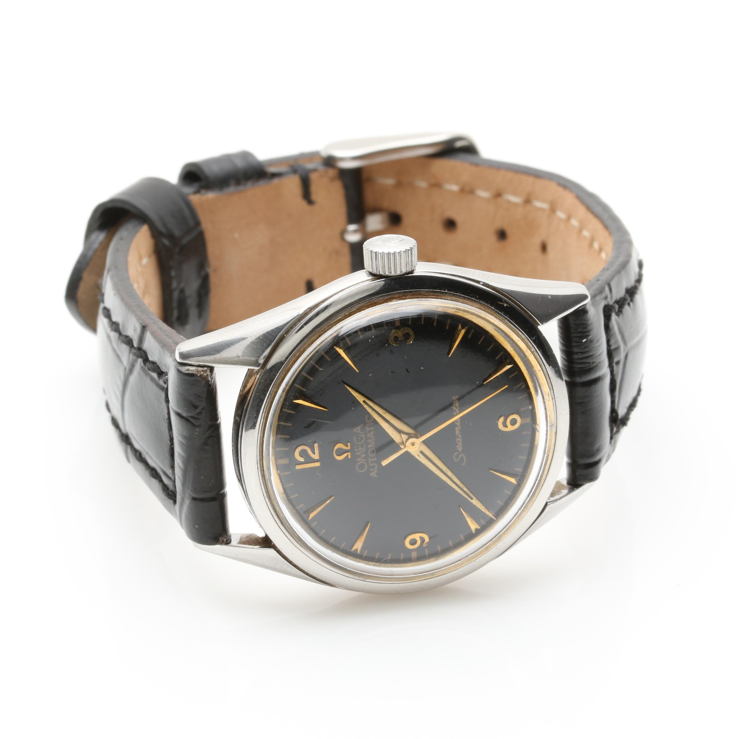 Circa 1950s Omega Automatic Stainless Steel Wristwatch