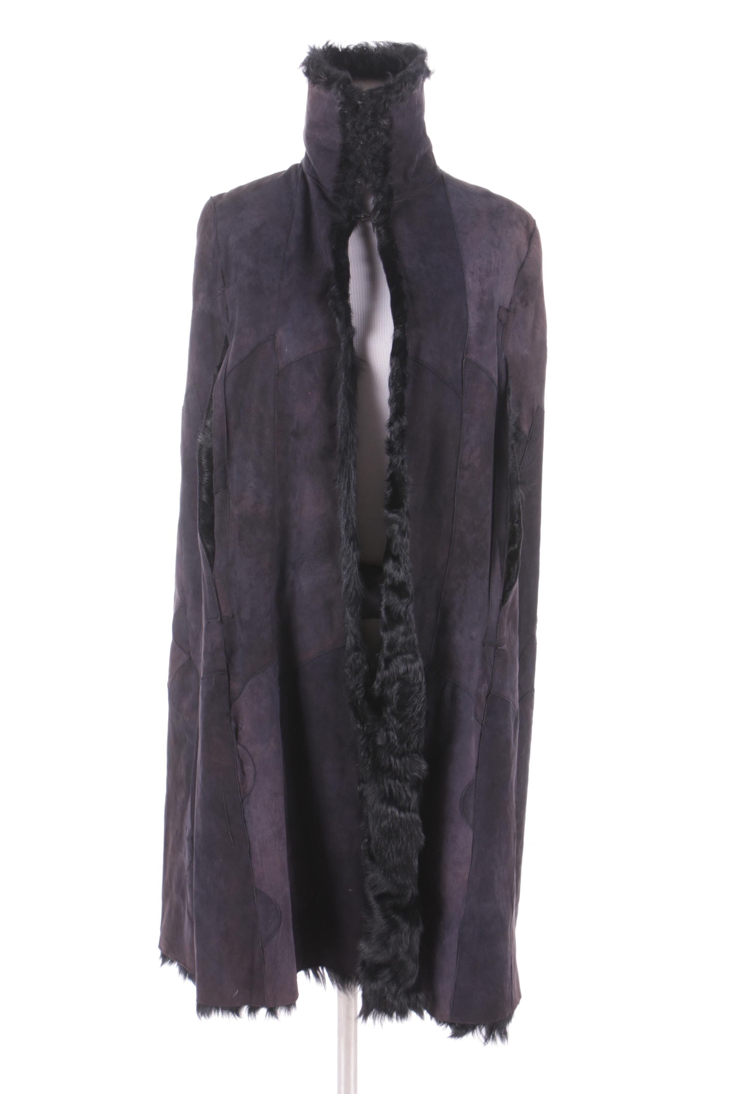 Ann Demeulemeester of Belgium Black Suede Cape with Lamb Fur Lining