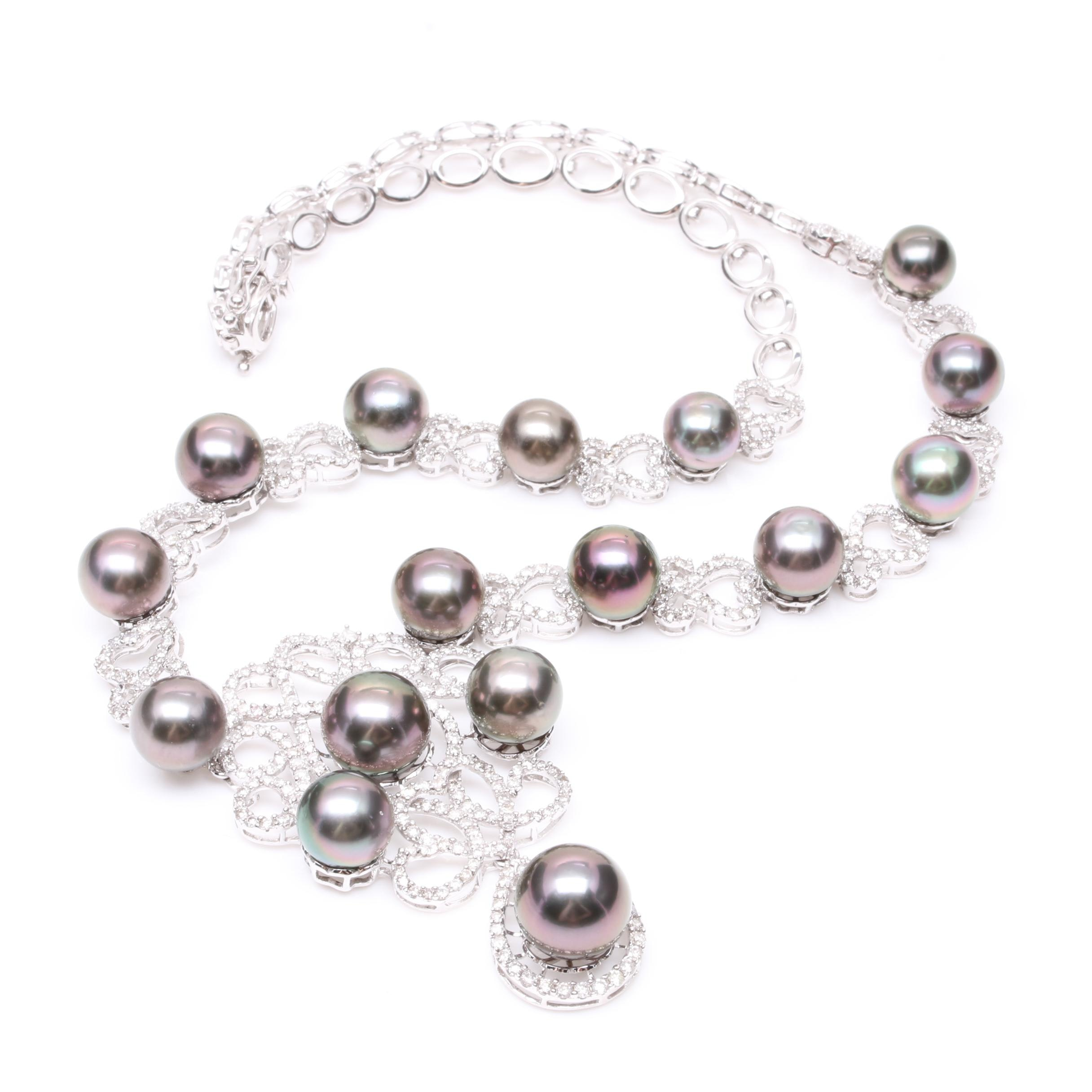 14K White Gold Cultured Pearl and 5.82 CTW Diamond Necklace