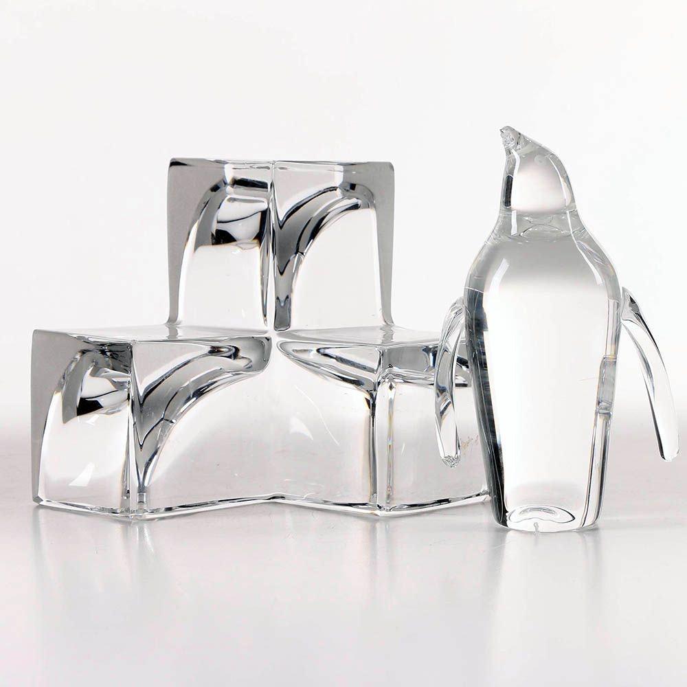 Steuben Glass Penguin and Daum Crystal Cube Sculptures