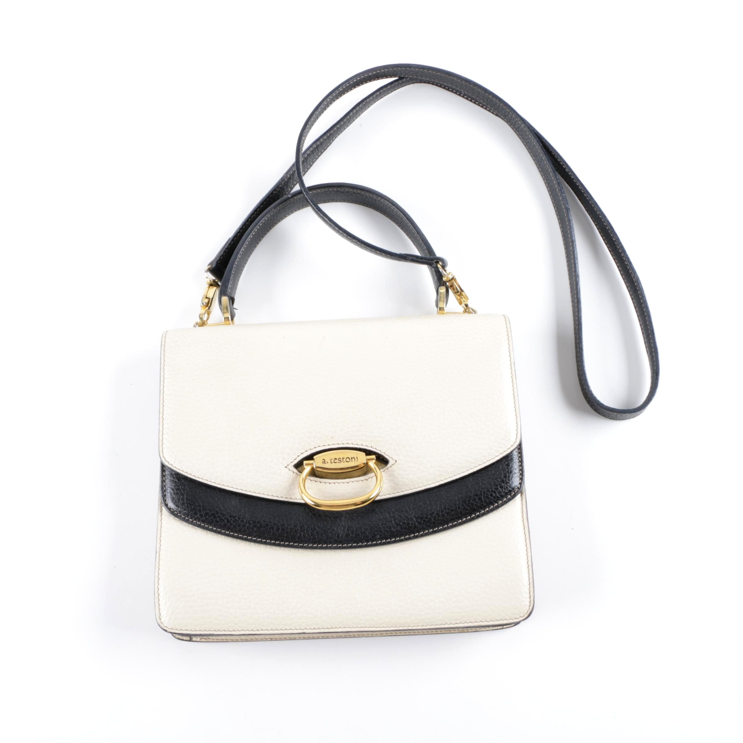 A. Testoni Off-White Pebbled Leather Crossbody Bag