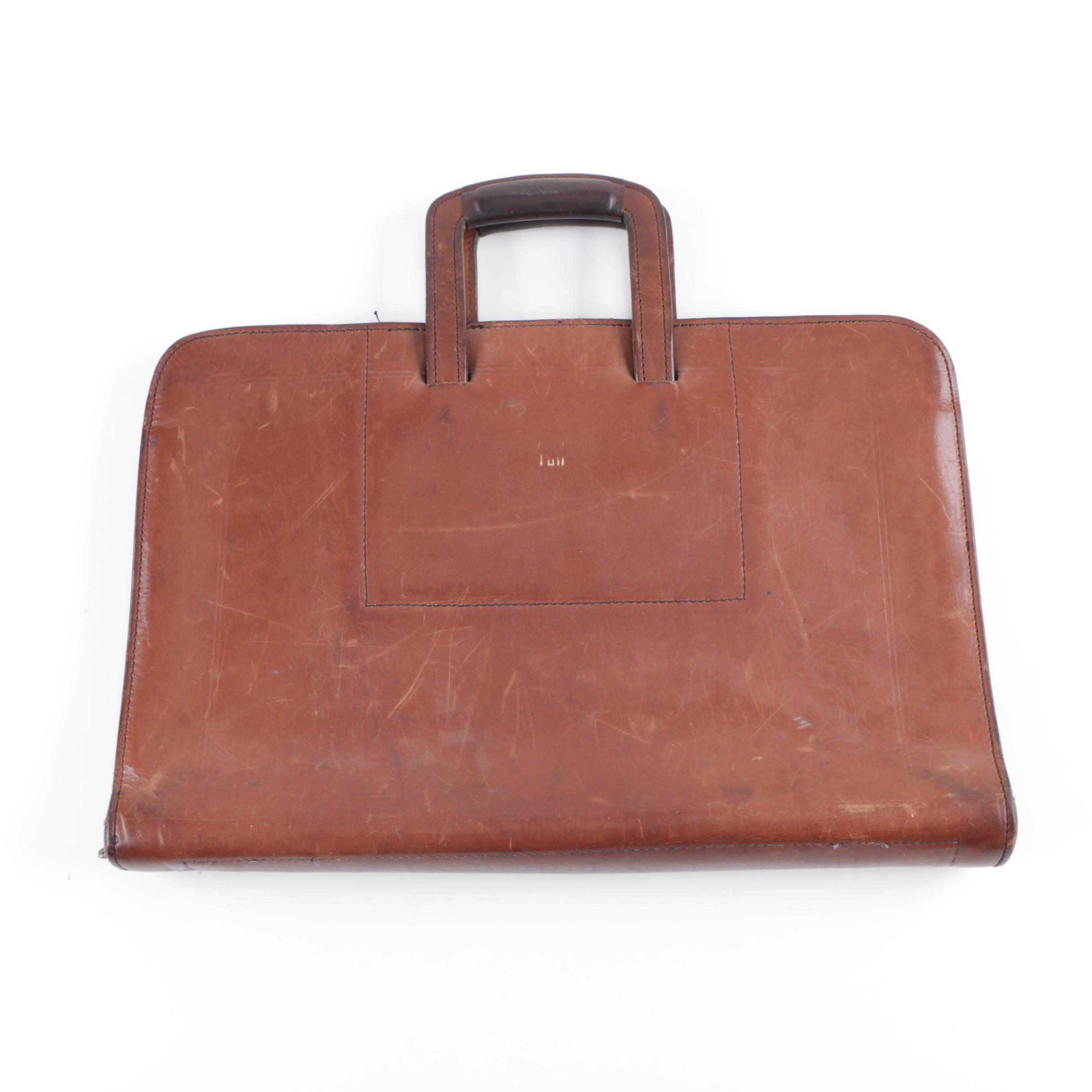Vintage Schlesinger & Brothers Brown Leather Briefcase