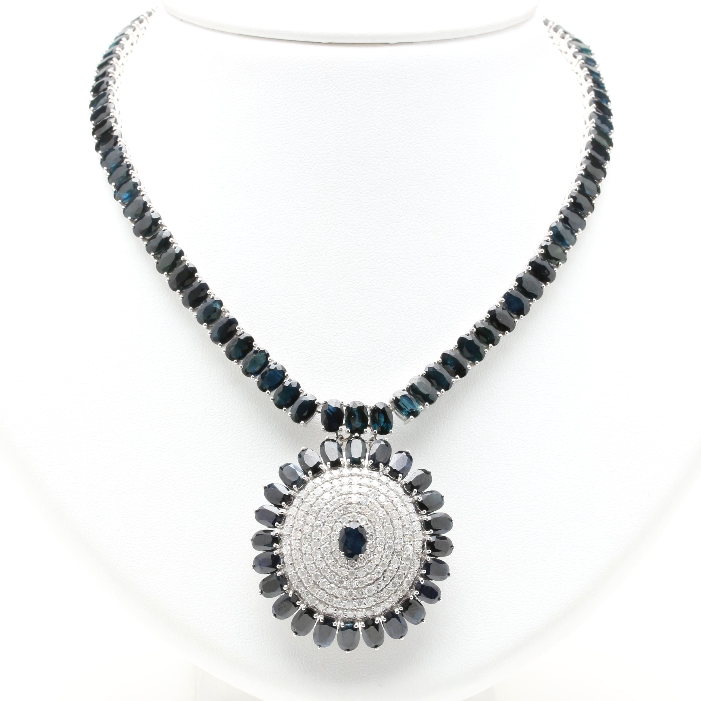 14K White Gold 3.48 CTW Diamond and Sapphire Necklace