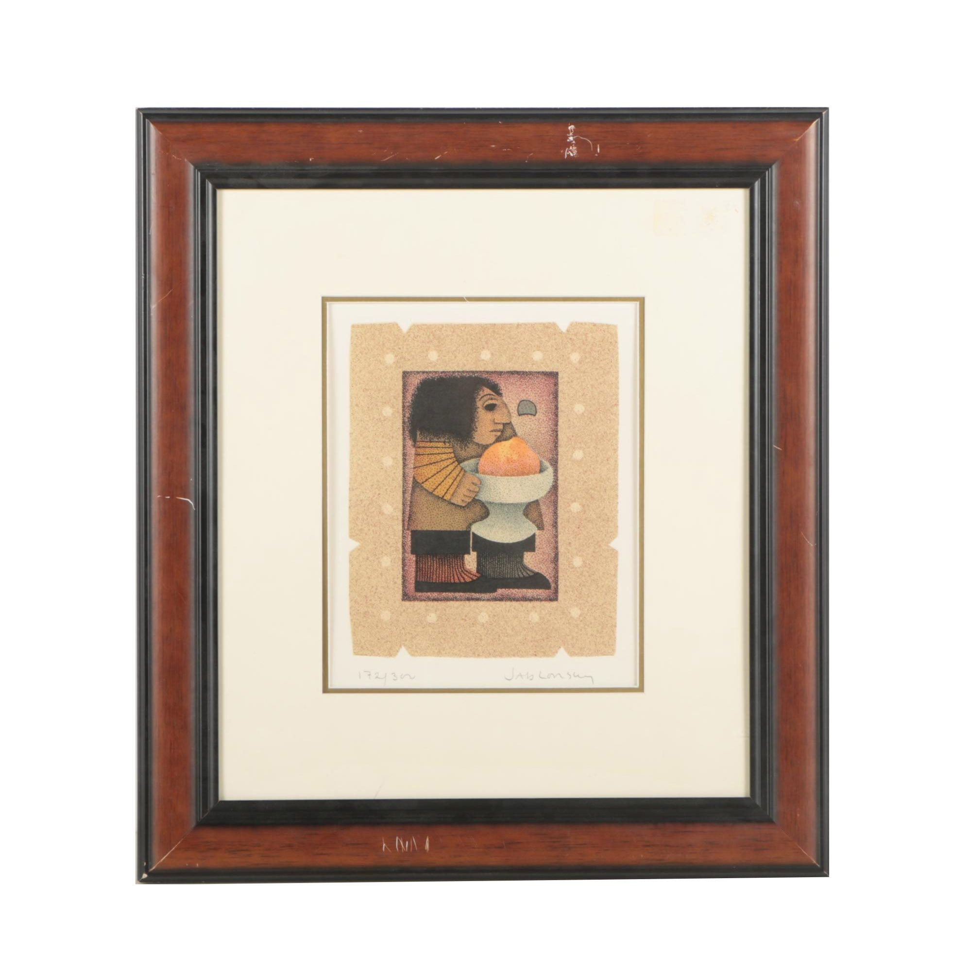 """Carol Jablonsky Lithograph """"Paul Cézanne and Apple and Bowl"""""""