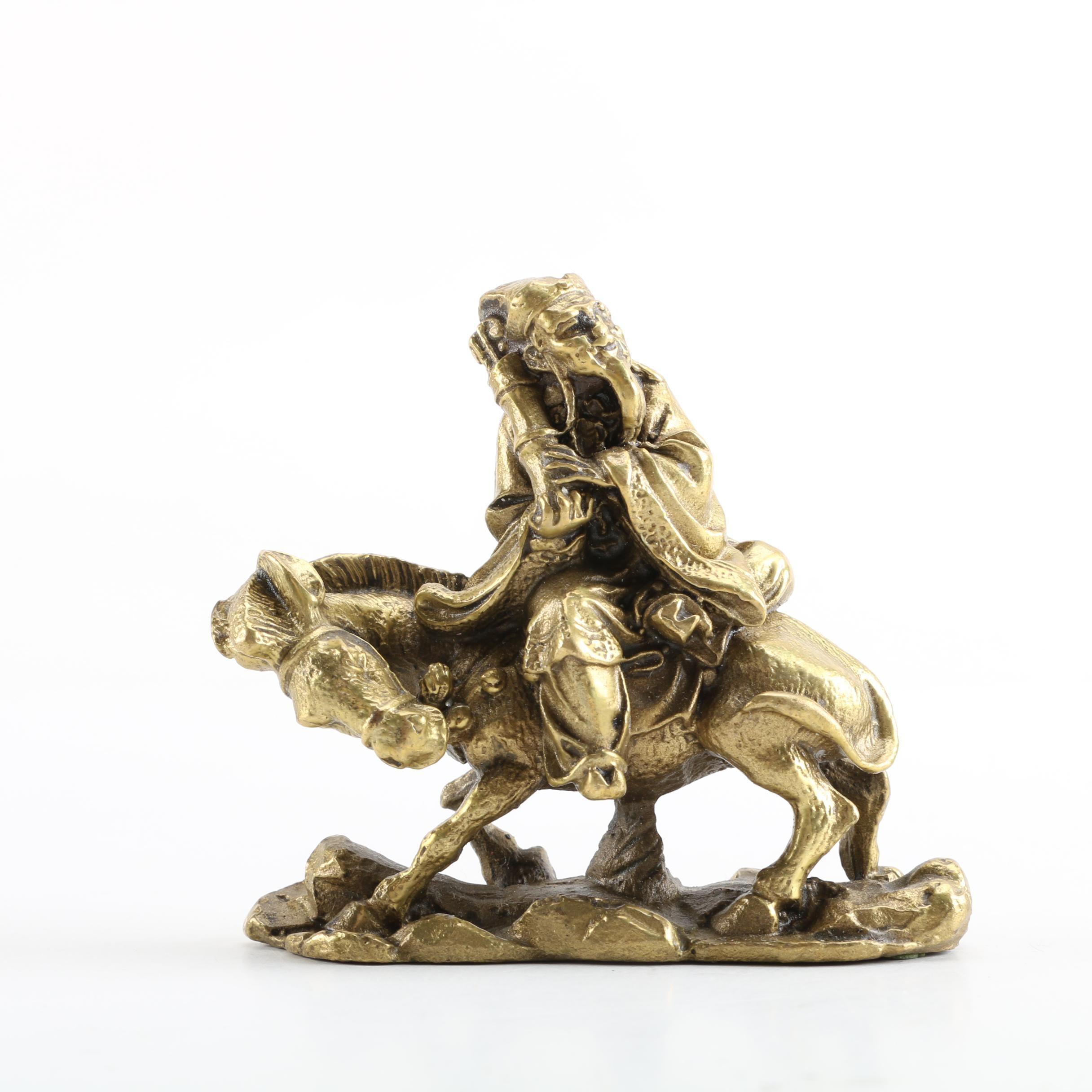 Chinese Metal Figurine of Laozi Riding a Donkey