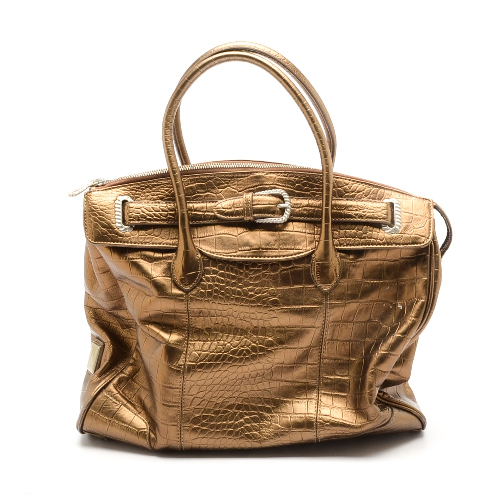 Judith Ripka Alligator Print Leather Handbag