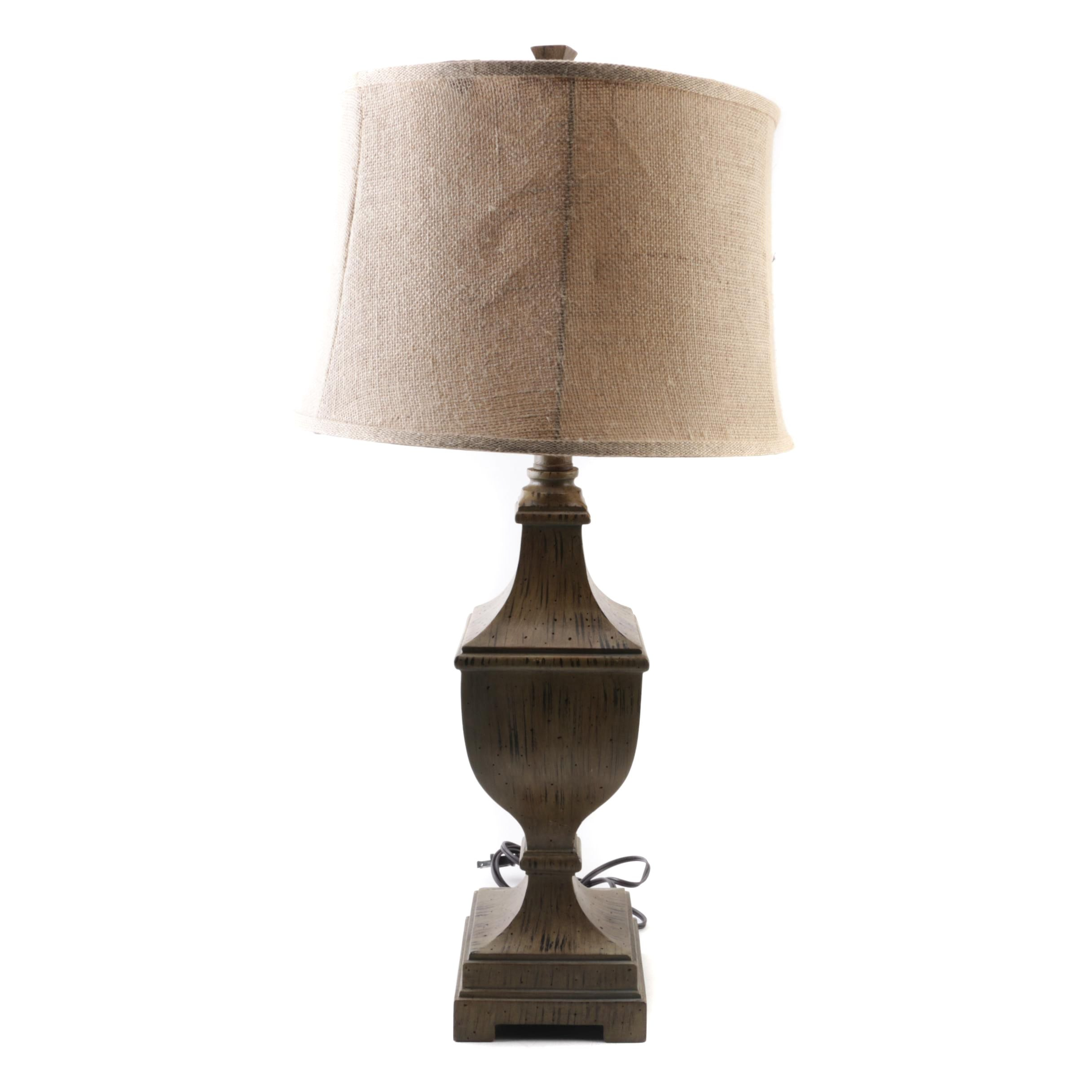 Brass Tone Wood Table Lamp