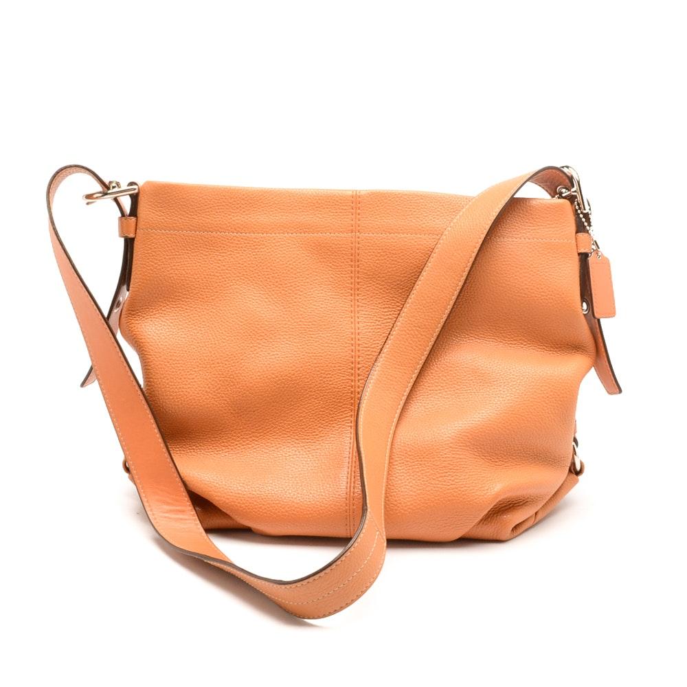 Coach Tangerine Pebbled Leather Shoulder Bag