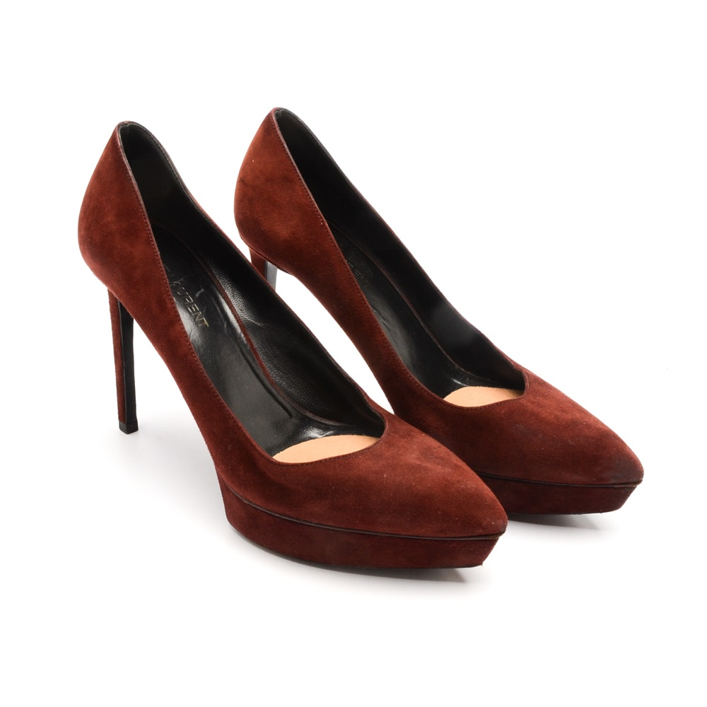 Yves Saint Laurent of Paris Burgundy Suede Platform Heels