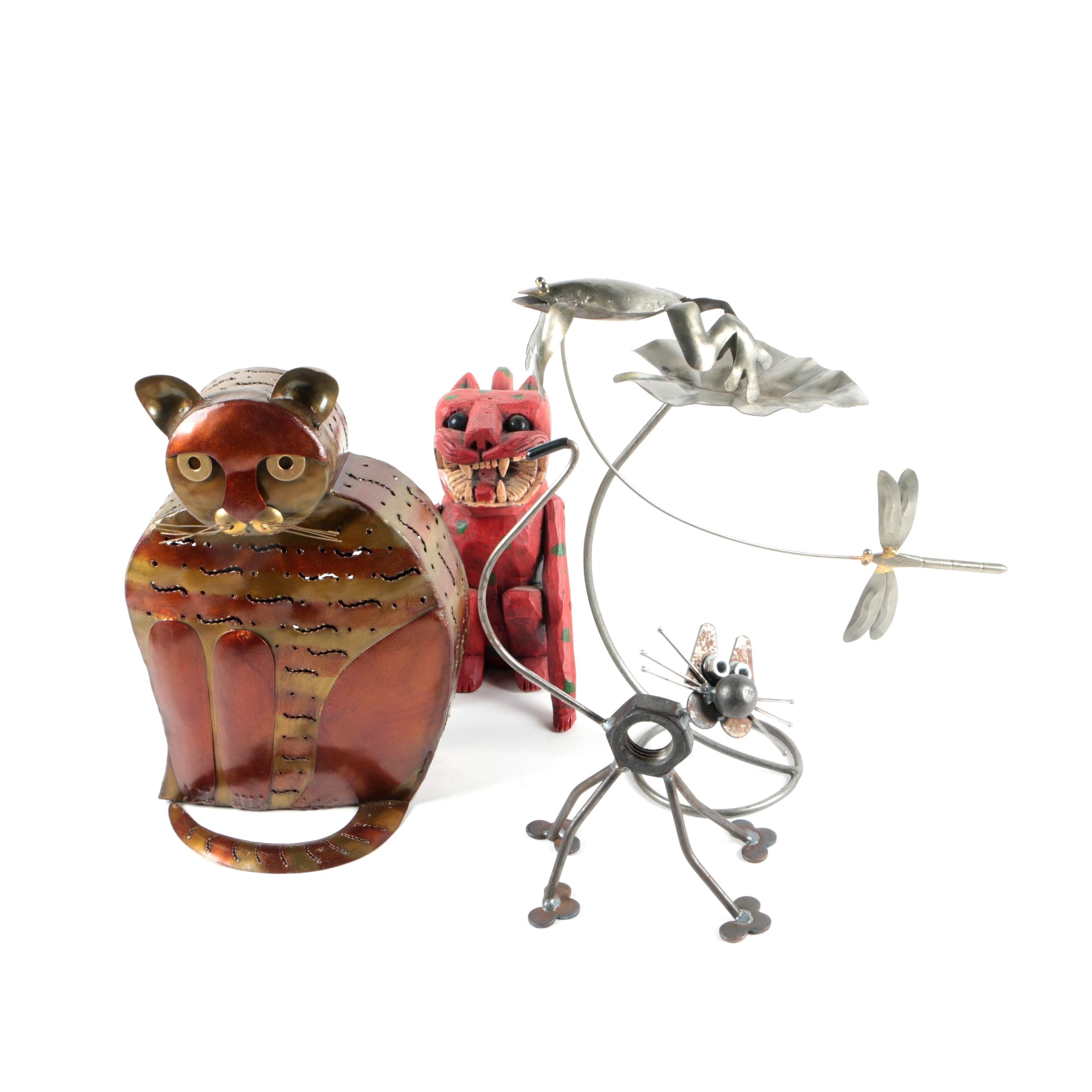 Metal and Wood Cat and Insect Figurines
