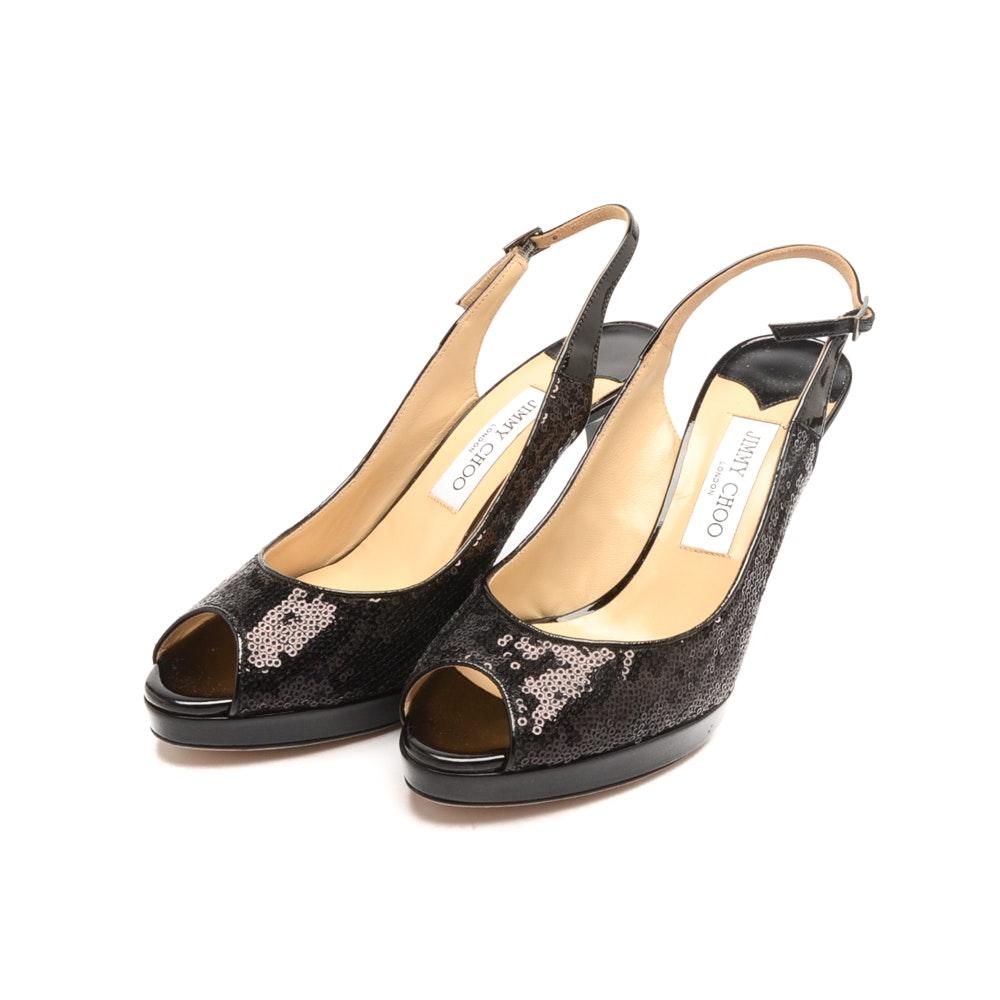 Women's Jimmy Choo Nova Black Sequined Peek Toe Pumps