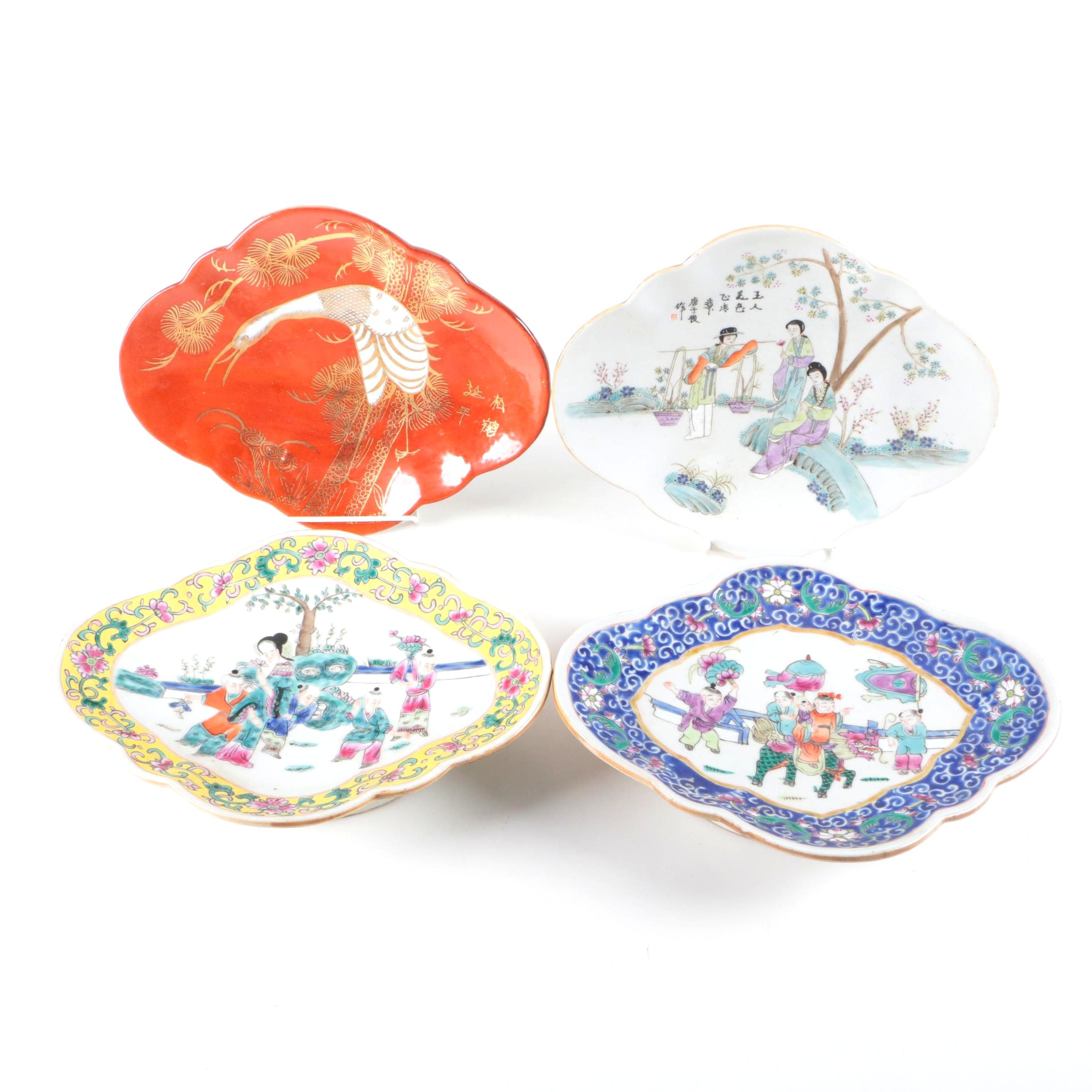 Chinese Hand Painted Porcelain Footed Serving Dishes