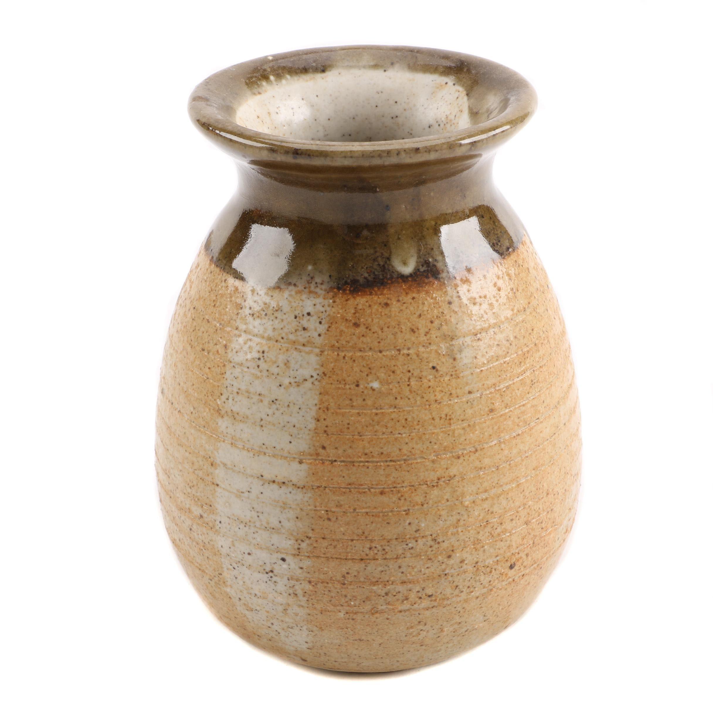 Signed Hand Thrown Stoneware Vase