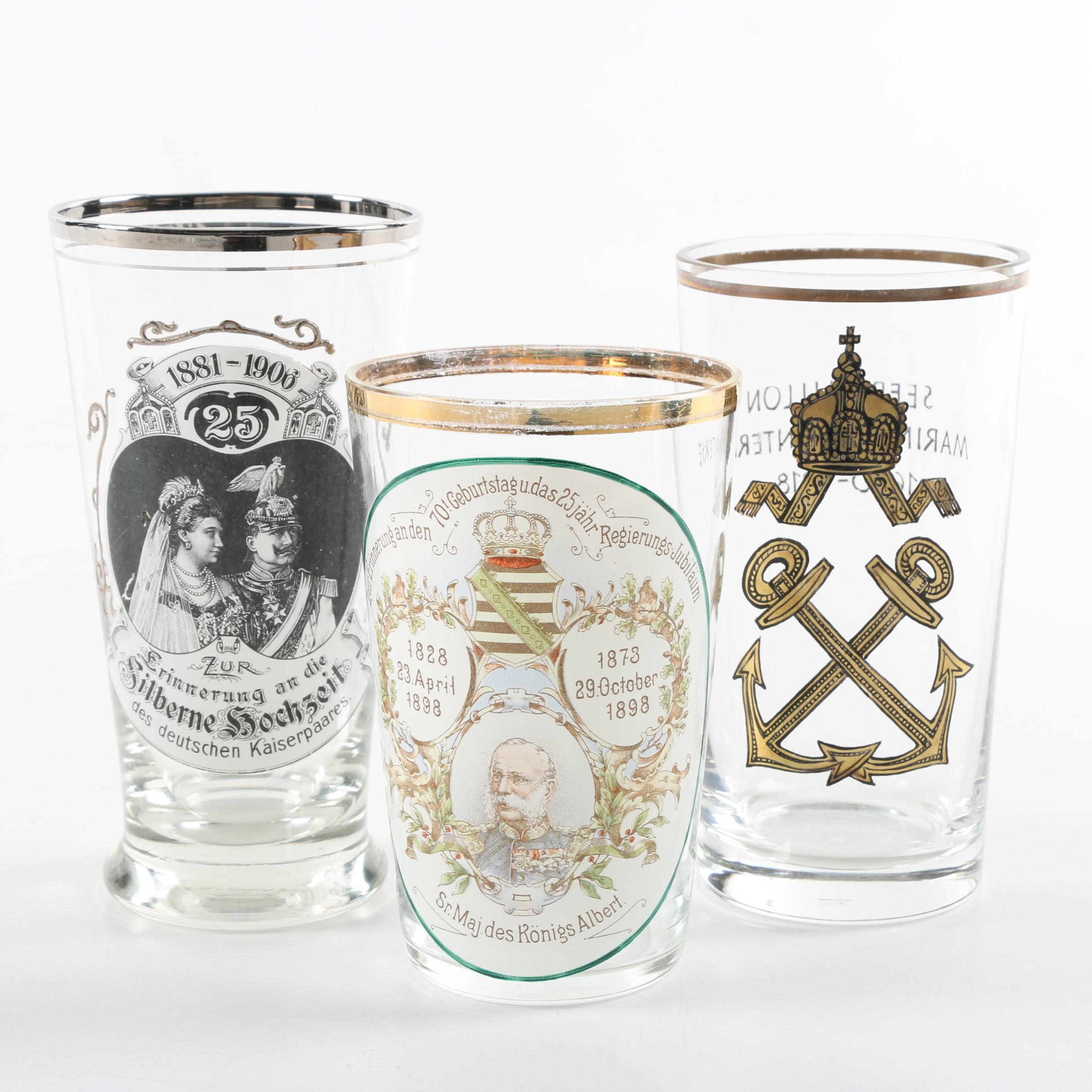 Antique Commemorative Pilsner Glasses