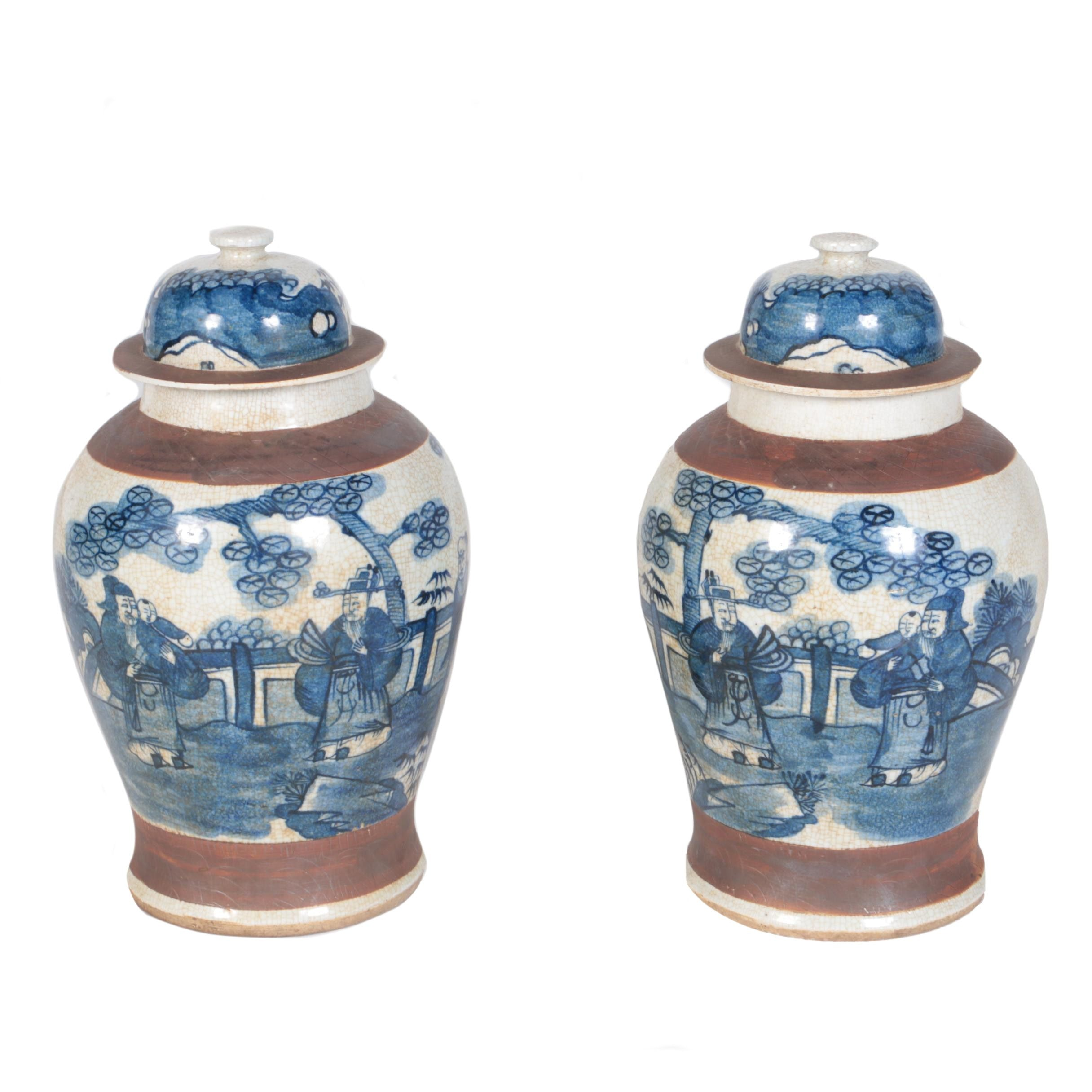 Chinese Ceramic Lidded Jars with Antiqued Finish