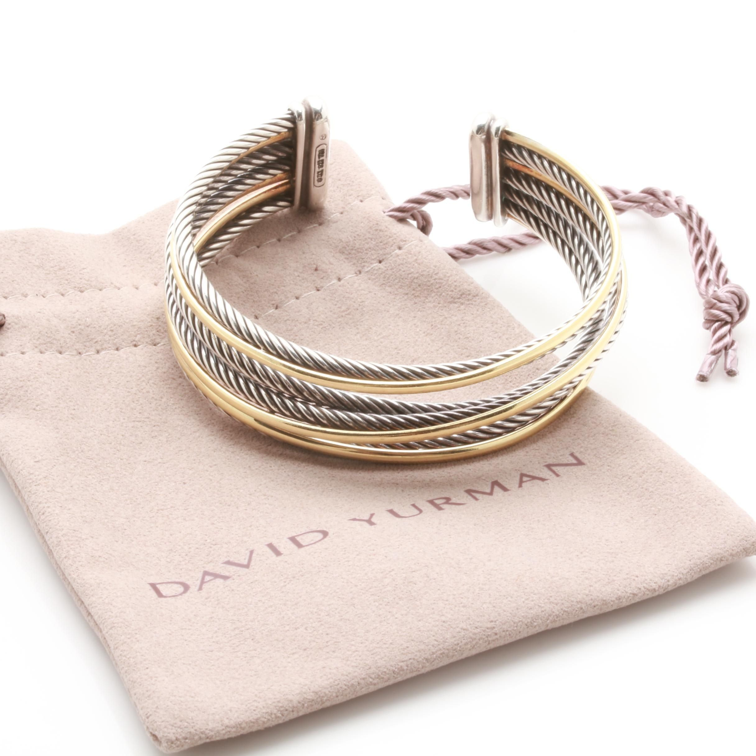 """David Yurman """"Crossover"""" Sterling Silver Cuff Bracelet With 18K Gold Accents"""