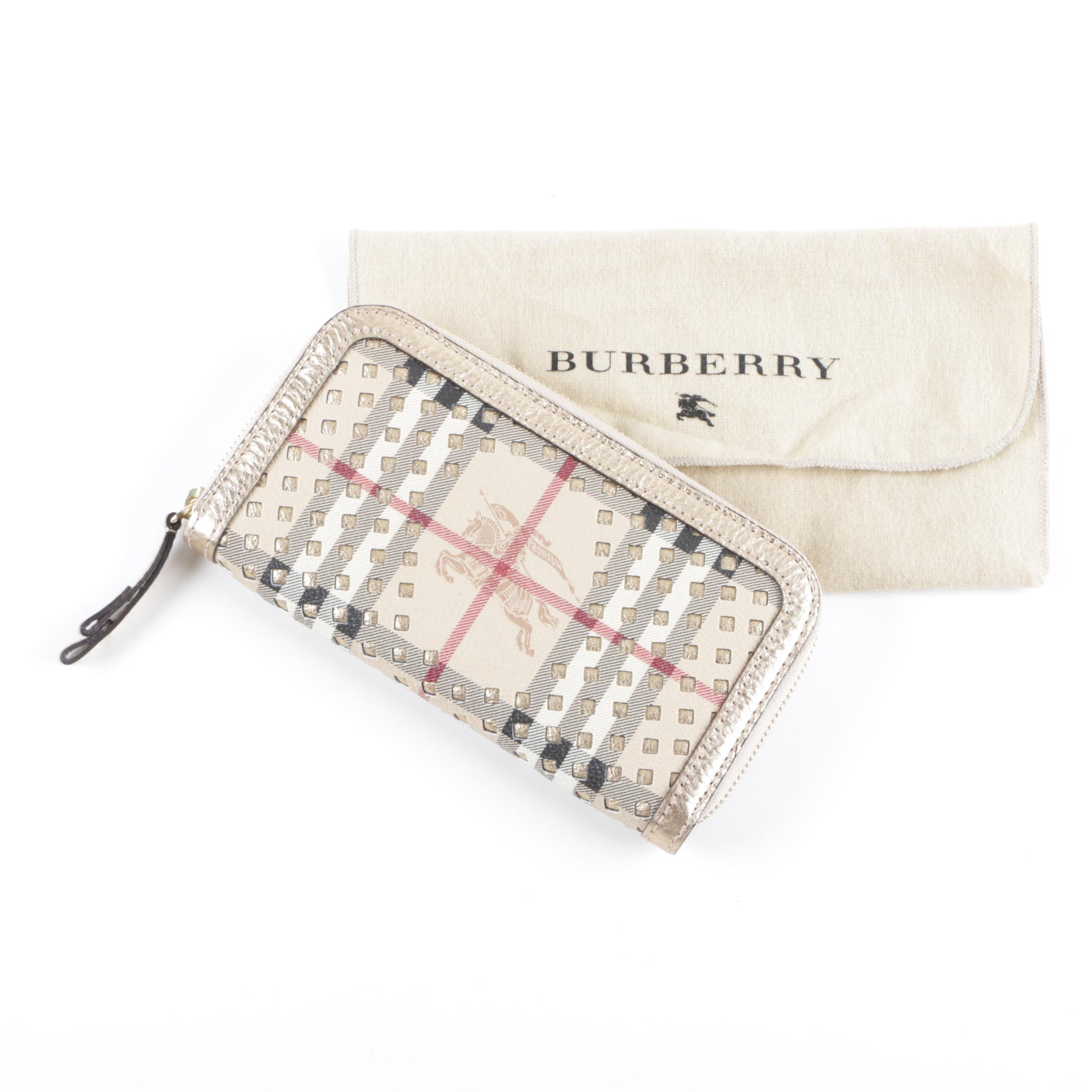 Burberry Haymarket Check Coated Canvas and Gold Metallic Leather Wallet