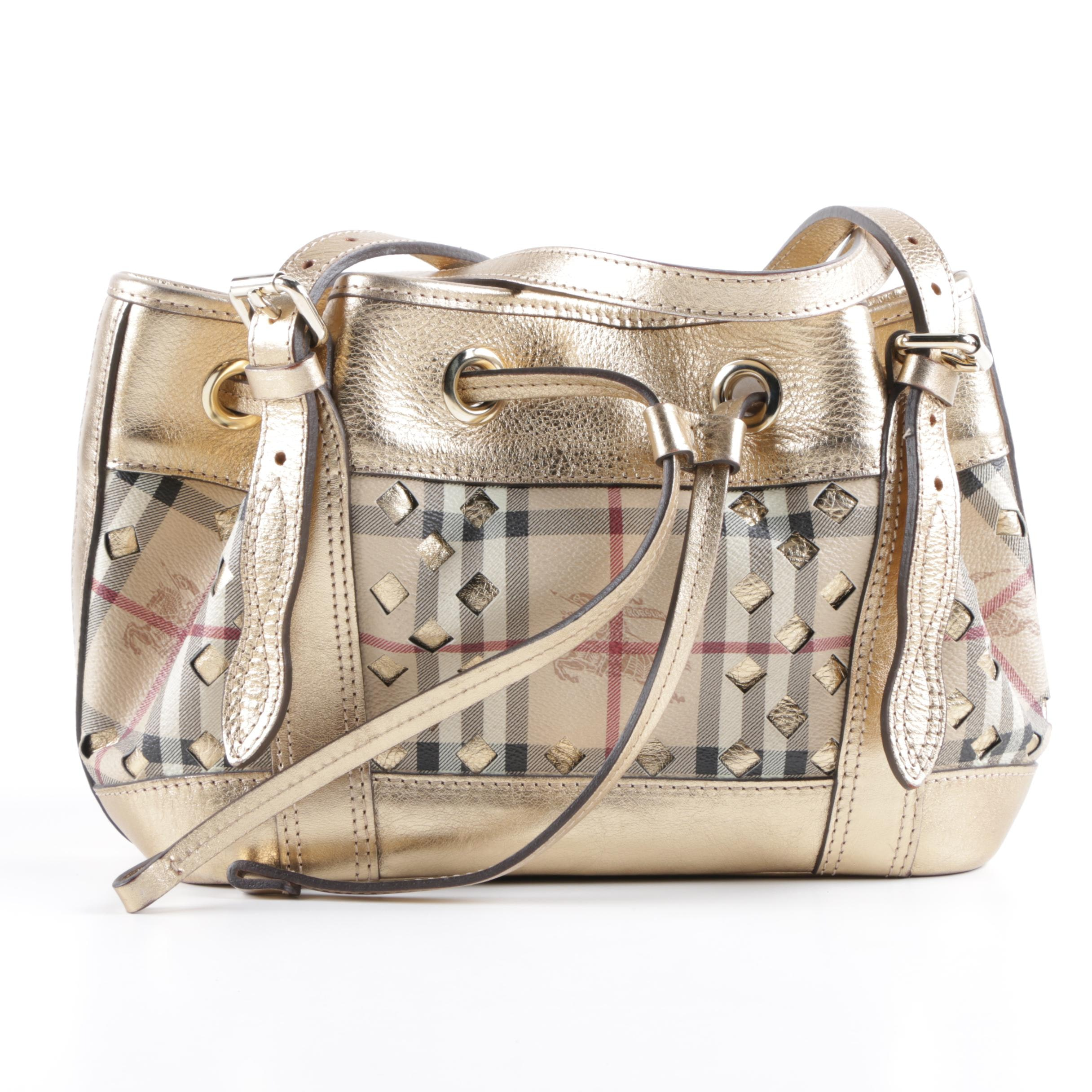 Burberry Haymarket Check Coated Canvas and Gold Metallic Leather Handbag