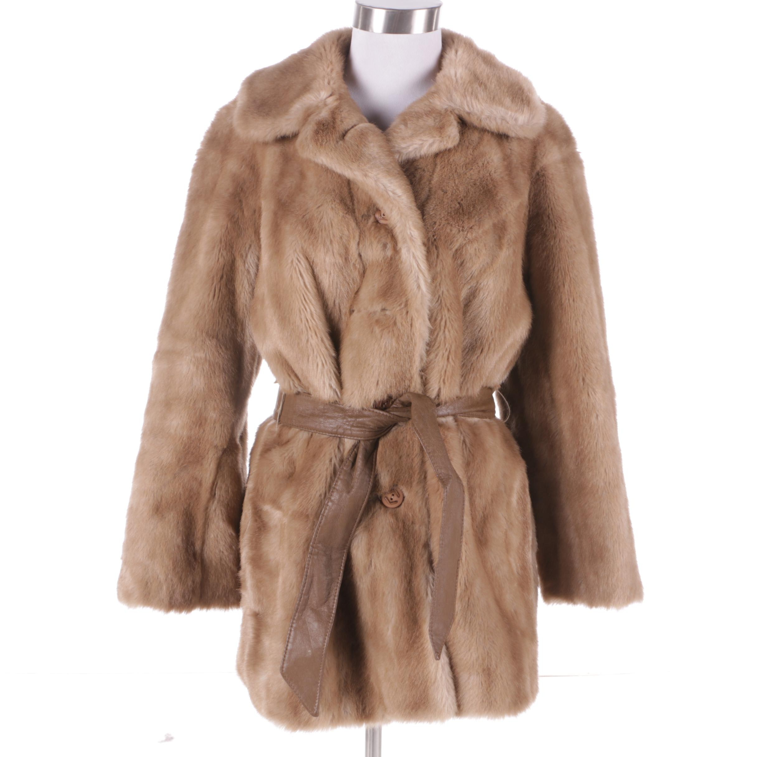 Women's Vintage Tissavel of France Tan Faux Fur Coat