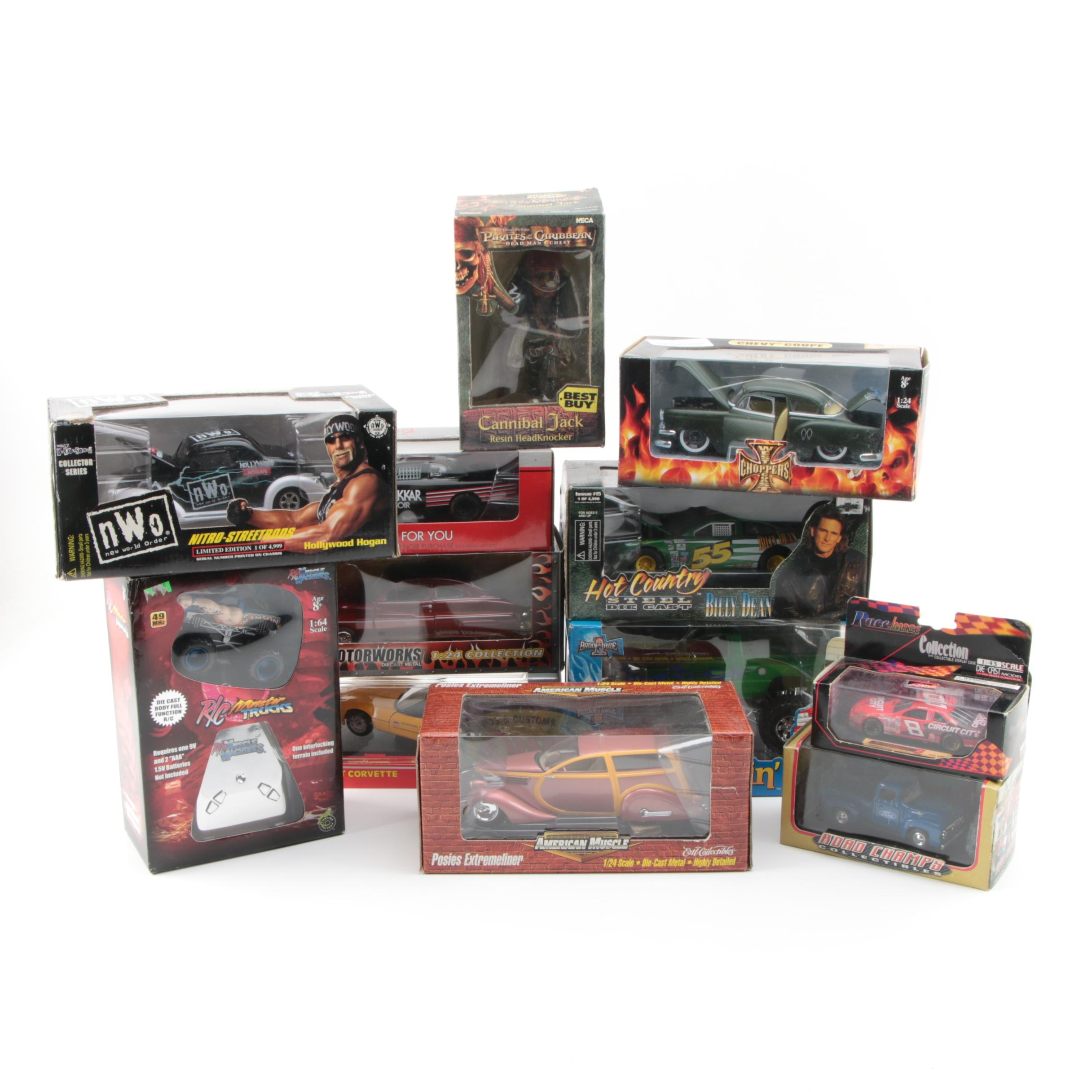 "Die-Cast Cars, ""Pirates of the Caribbean"" Action Figure, and R/C Truck"