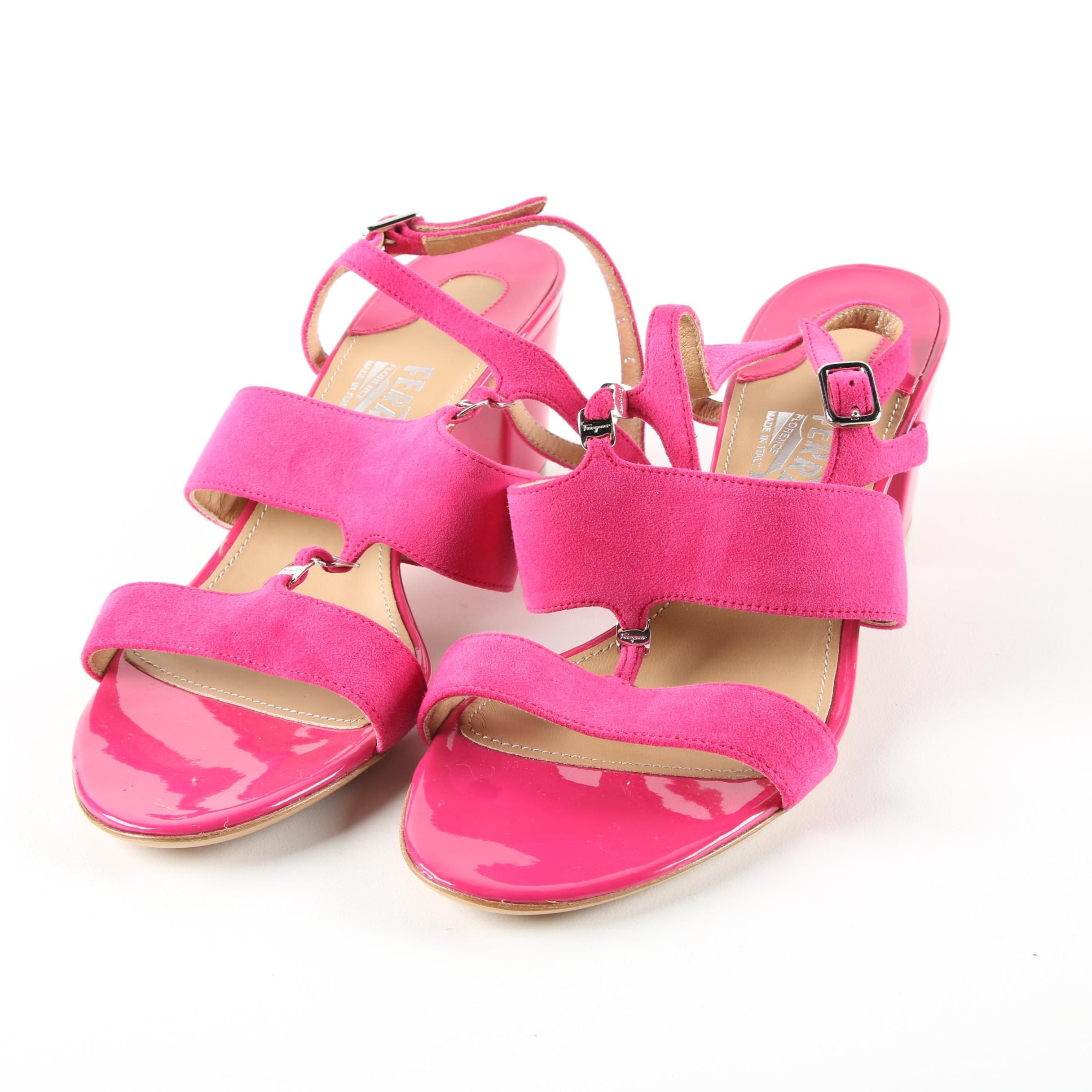 Salvatore Ferragamo Hot Pink Patent Leather and Suede High-Heeled Dress Sandals