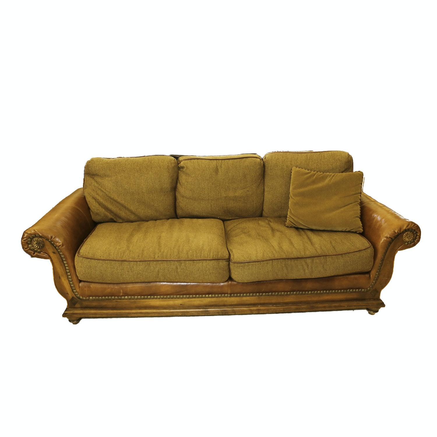 Upholstered Leather And Wood Sofa By Harden ...