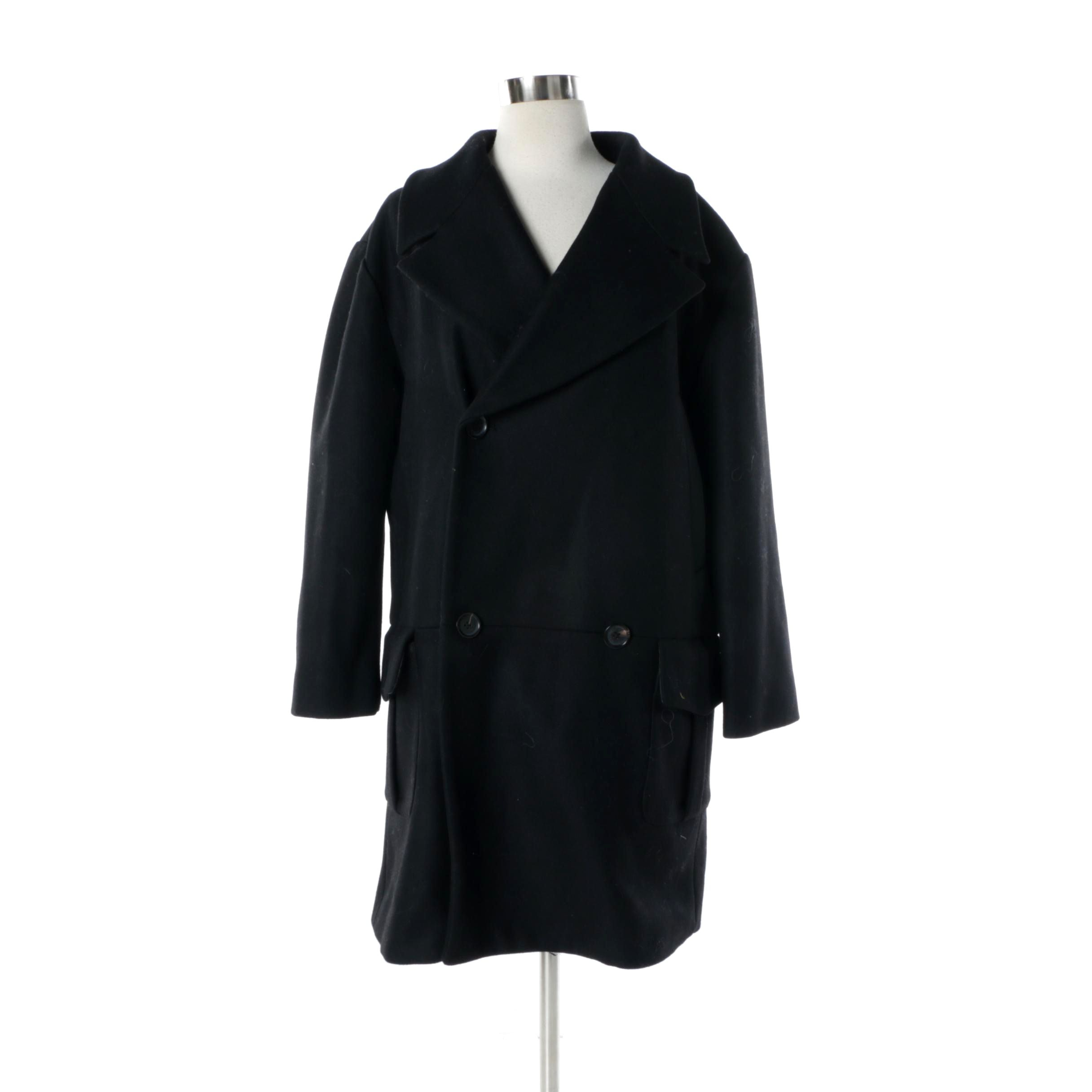 Women's Pink Tartan Black Wool Double-Breasted Coat