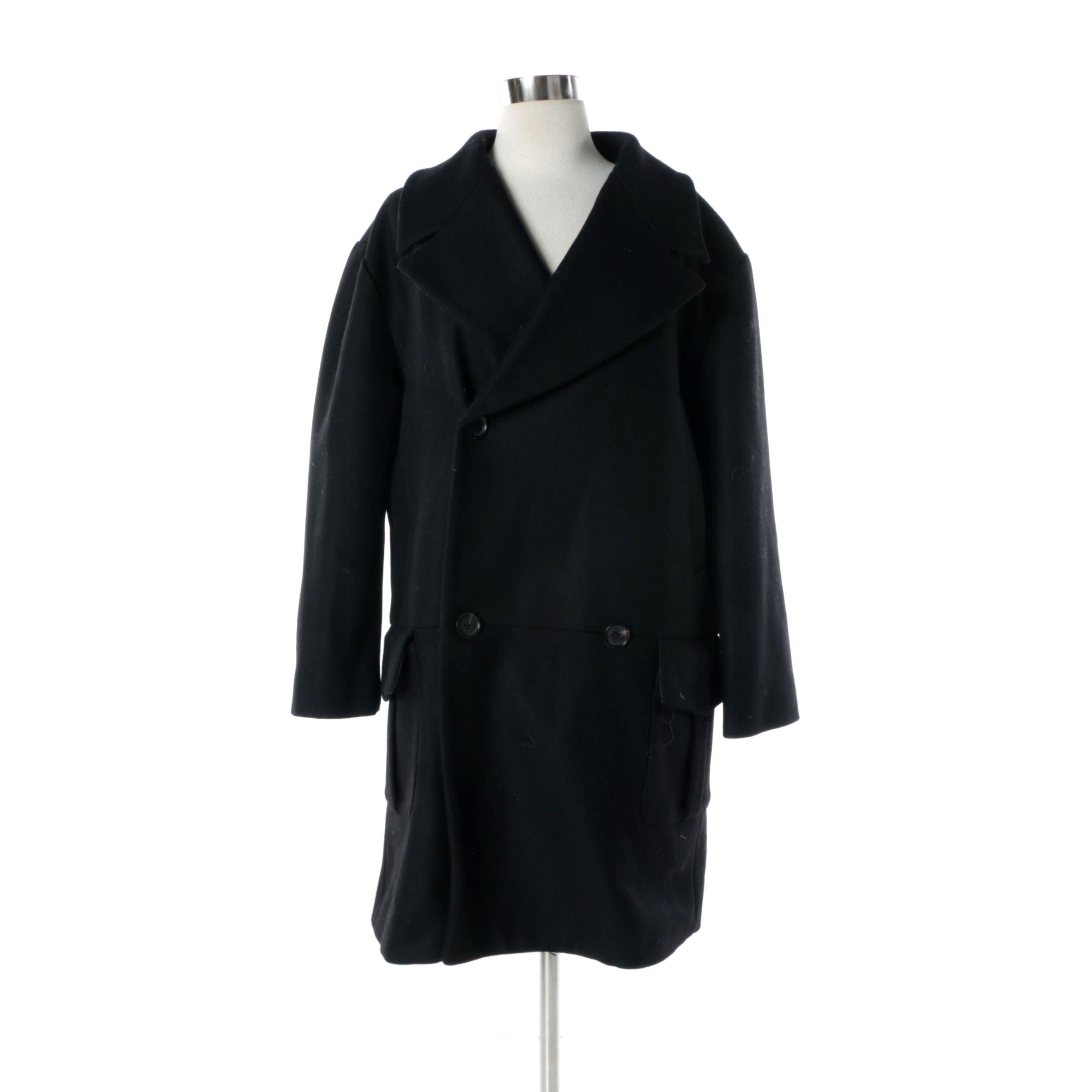 Women's Pink Tartan Black Wool Double-Breasted Coat