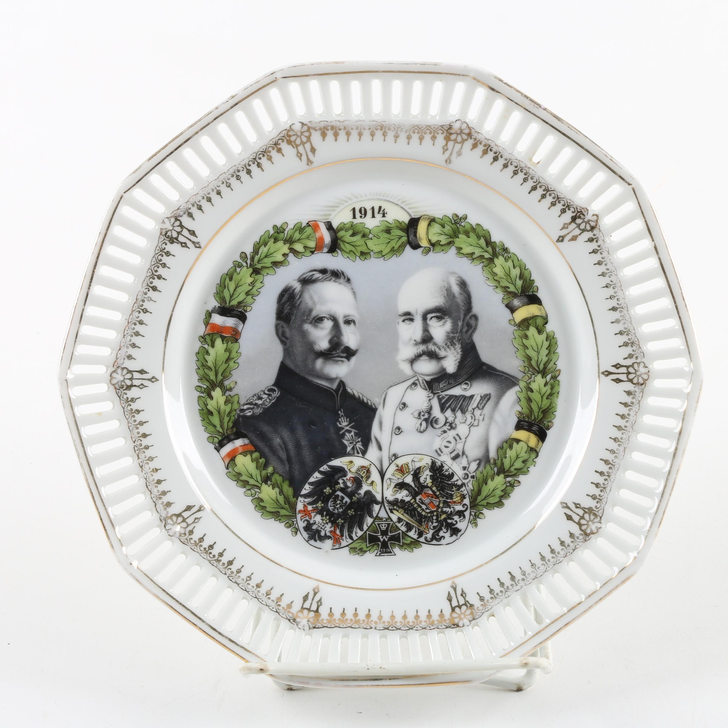 Commemorative Wilhelm II and Franz Joseph World War One Plate