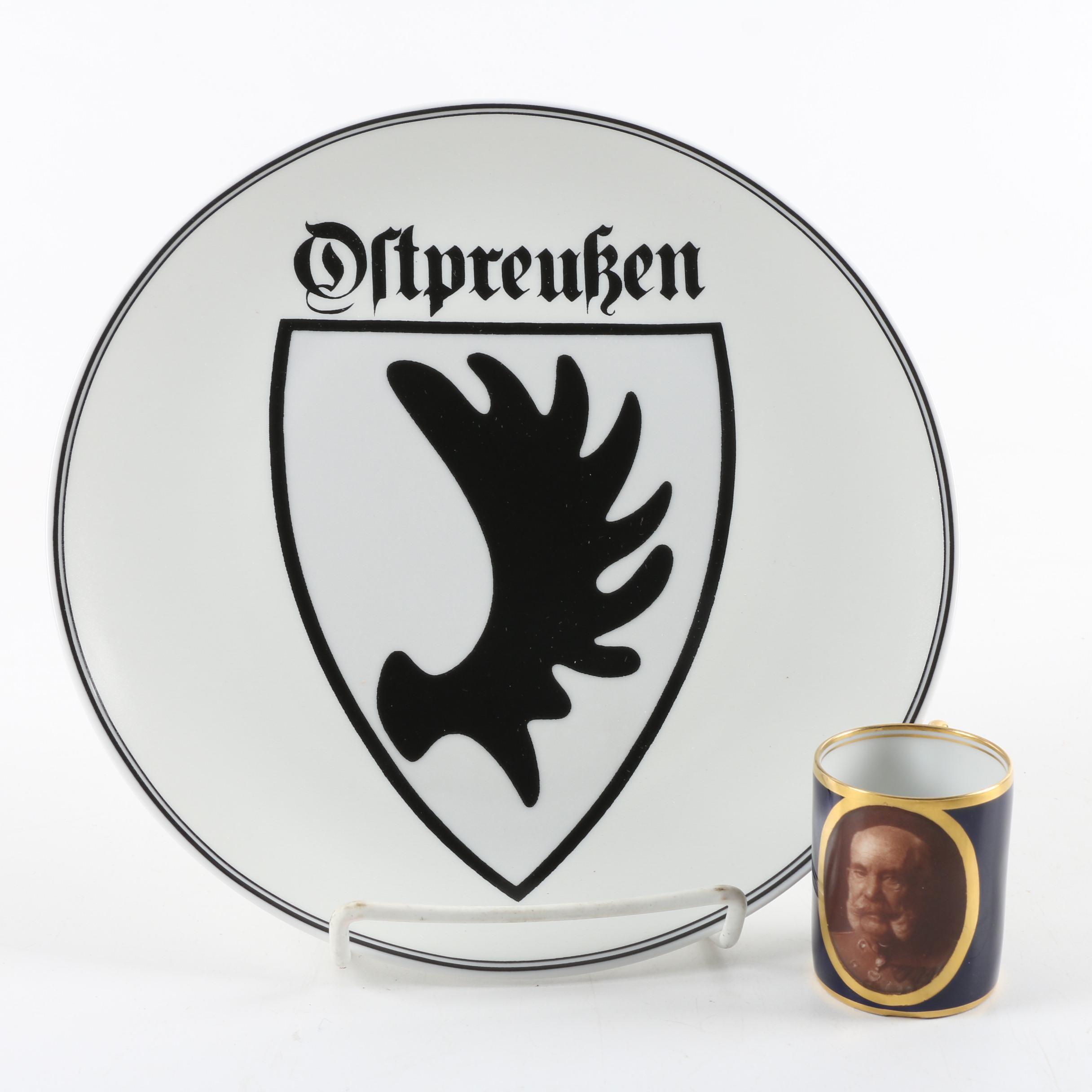 Ludwigsburg Porcelain Demitasse and Ostprußen Plate