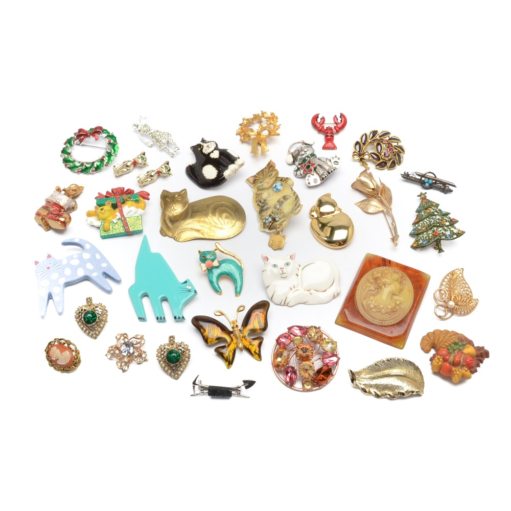Large Assortment of Brooch Pins