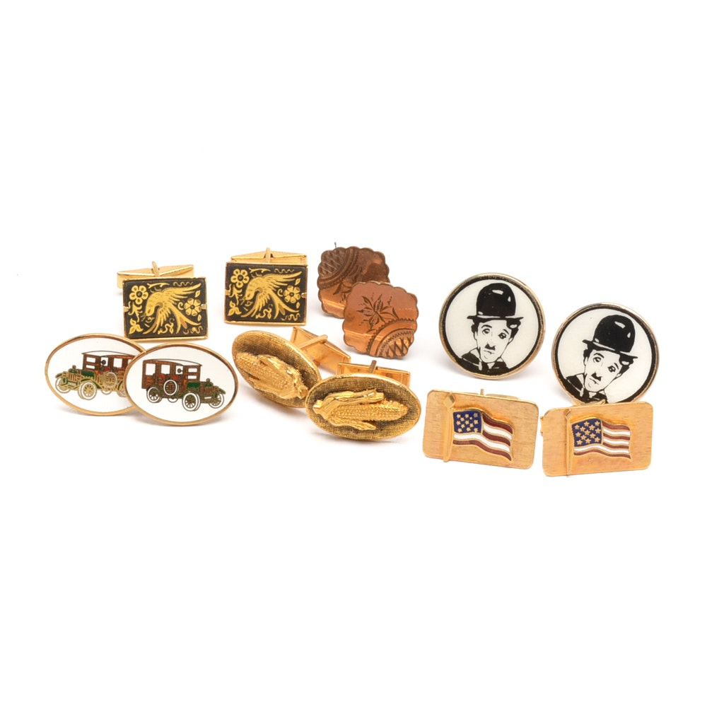 Assortment of Gold Tone and Copper Cufflinks
