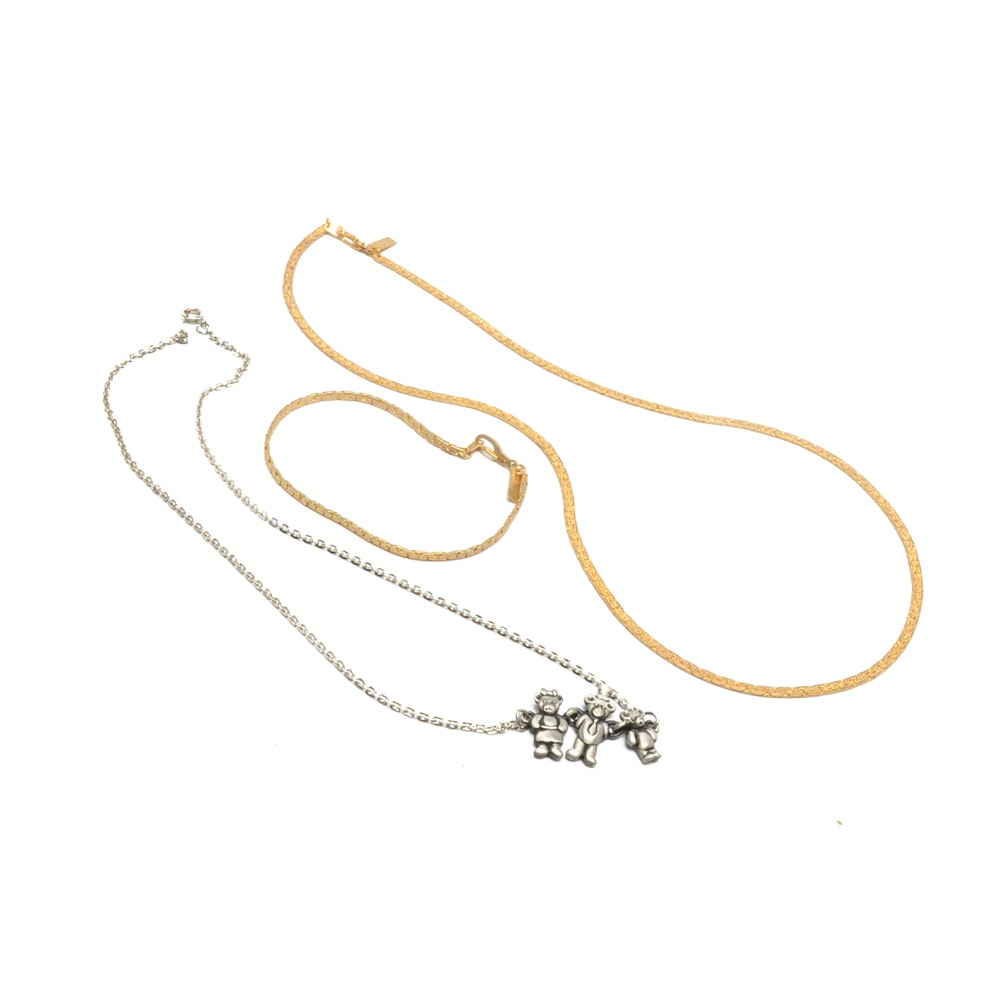 18K Gold Filled Necklace and Bracelet with a Three Bears Pewter Necklace