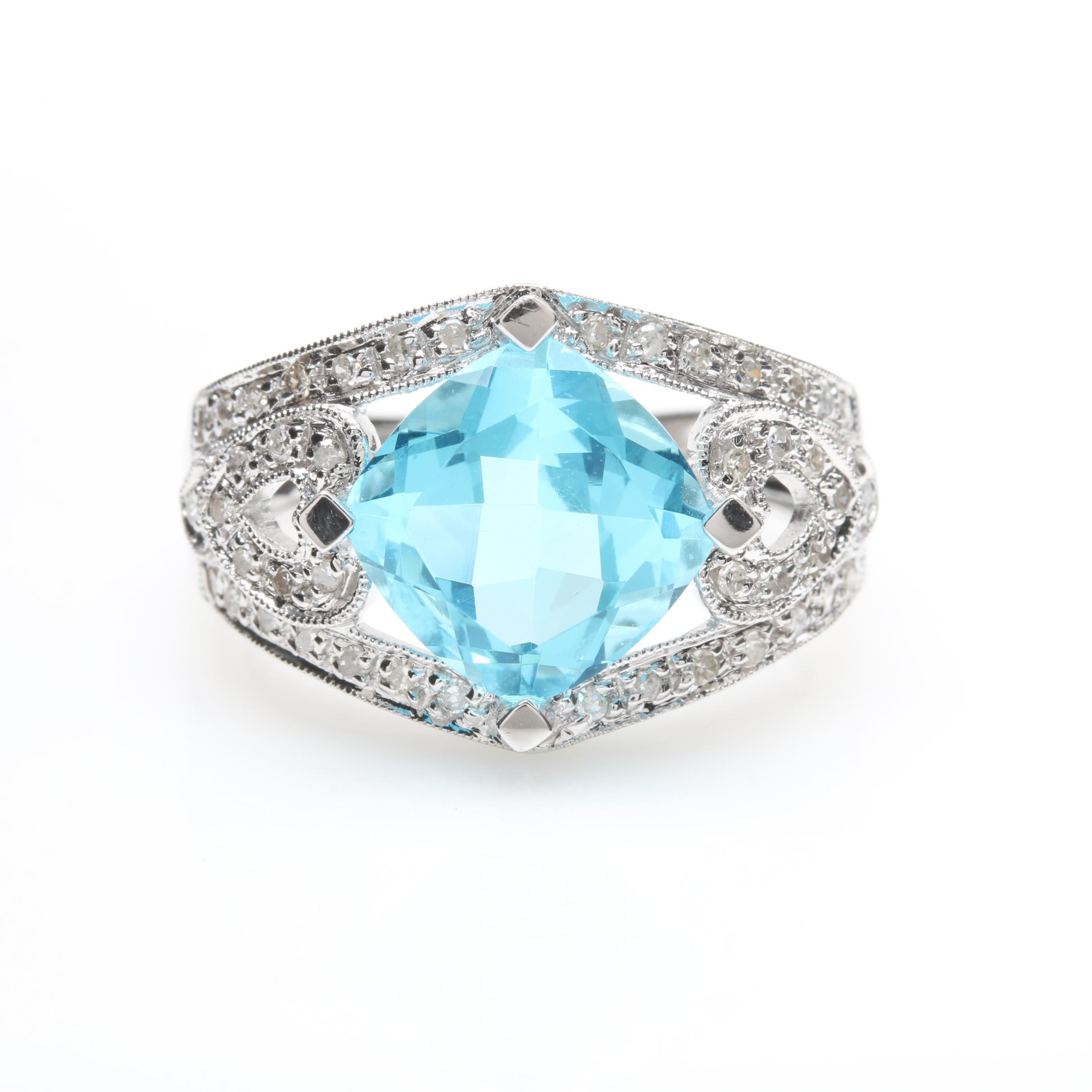 14K White Gold Blue Glass and Diamond Ring