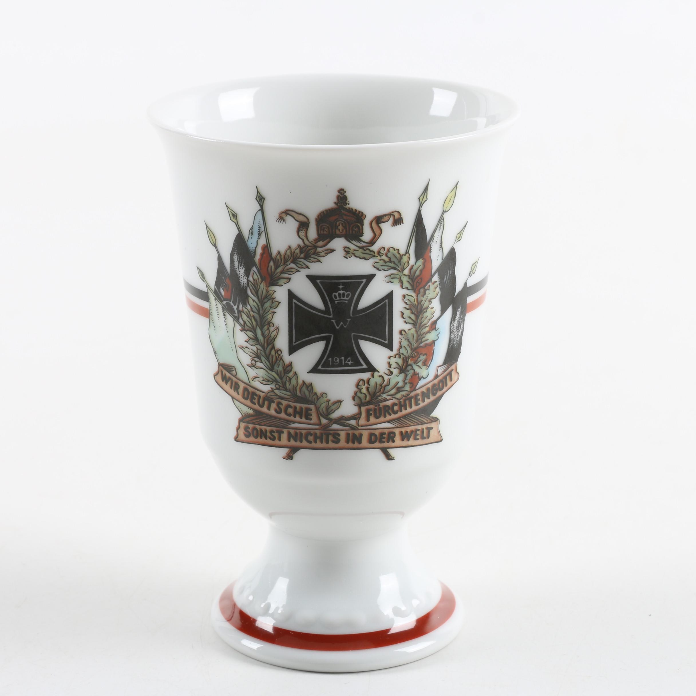 Vintage Johann Seltmann World War One Porcelain Footed Cup