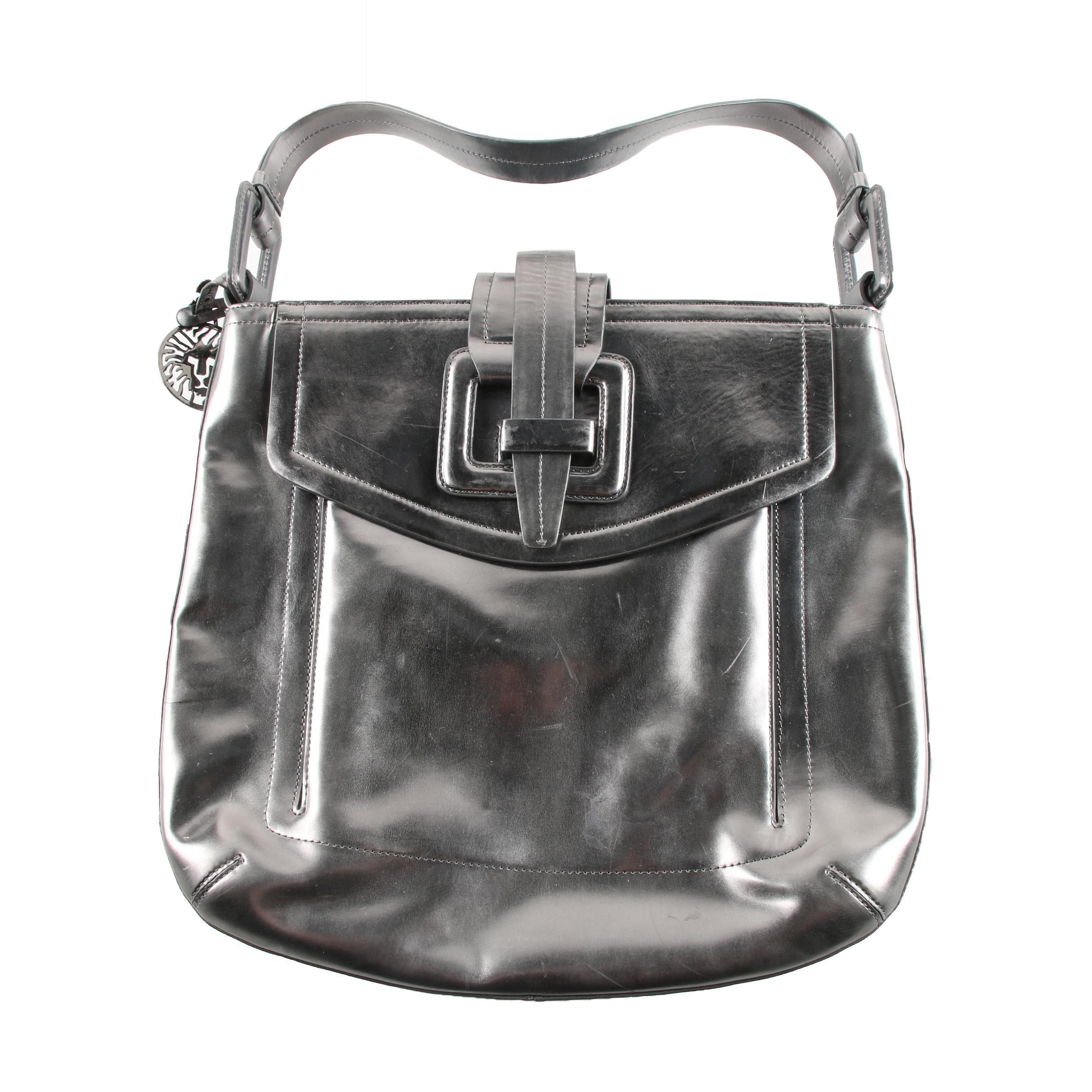 Anne Klein Black Leather Shoulder Bag