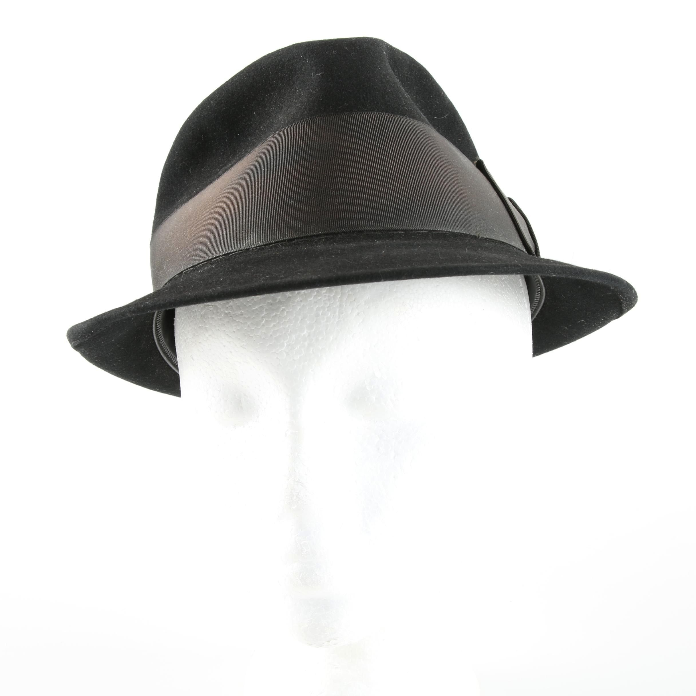 Men's Vintage Berg Black Trilby Fedora with Wide Grosgrain Ribbon Hat Band