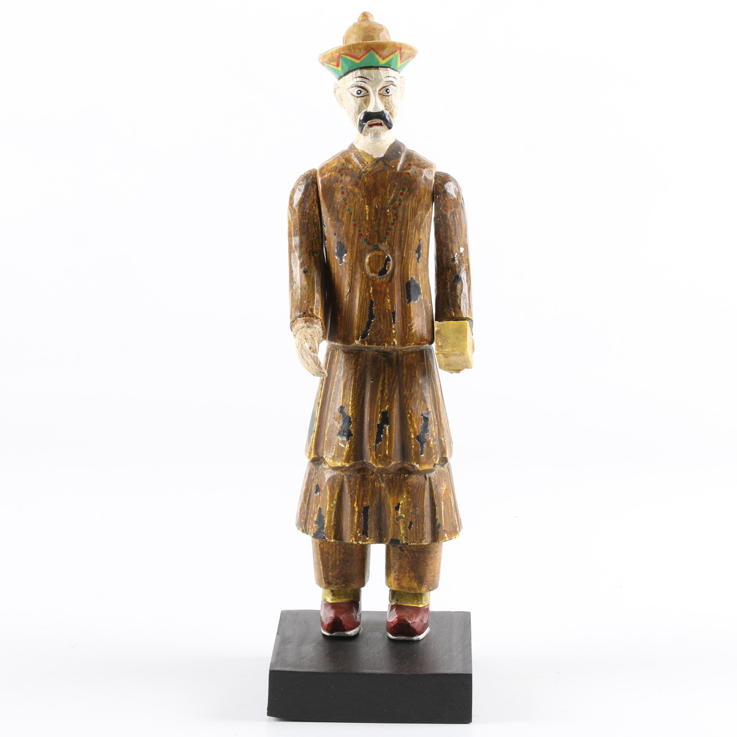 Hand-Painted Asian Inspired Resin Male Figurine