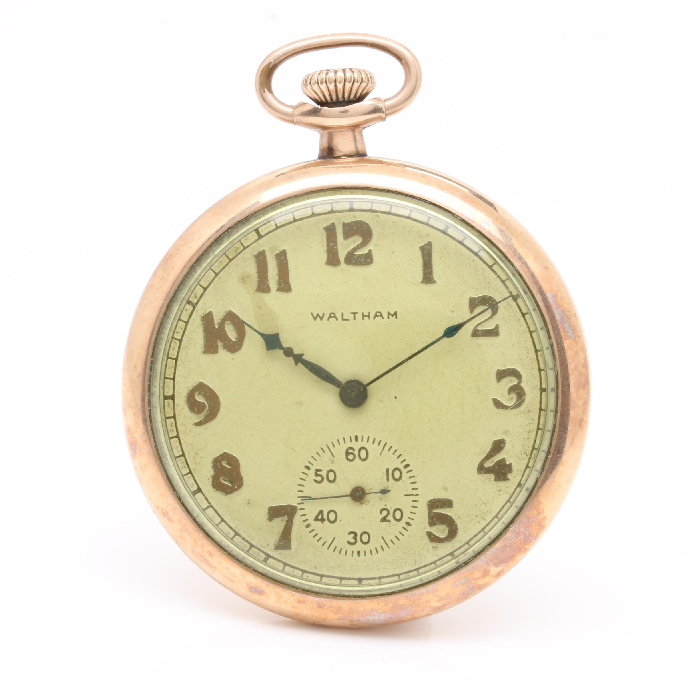 10K Gold Filled Vintage Waltham Open Face Pocket Watch