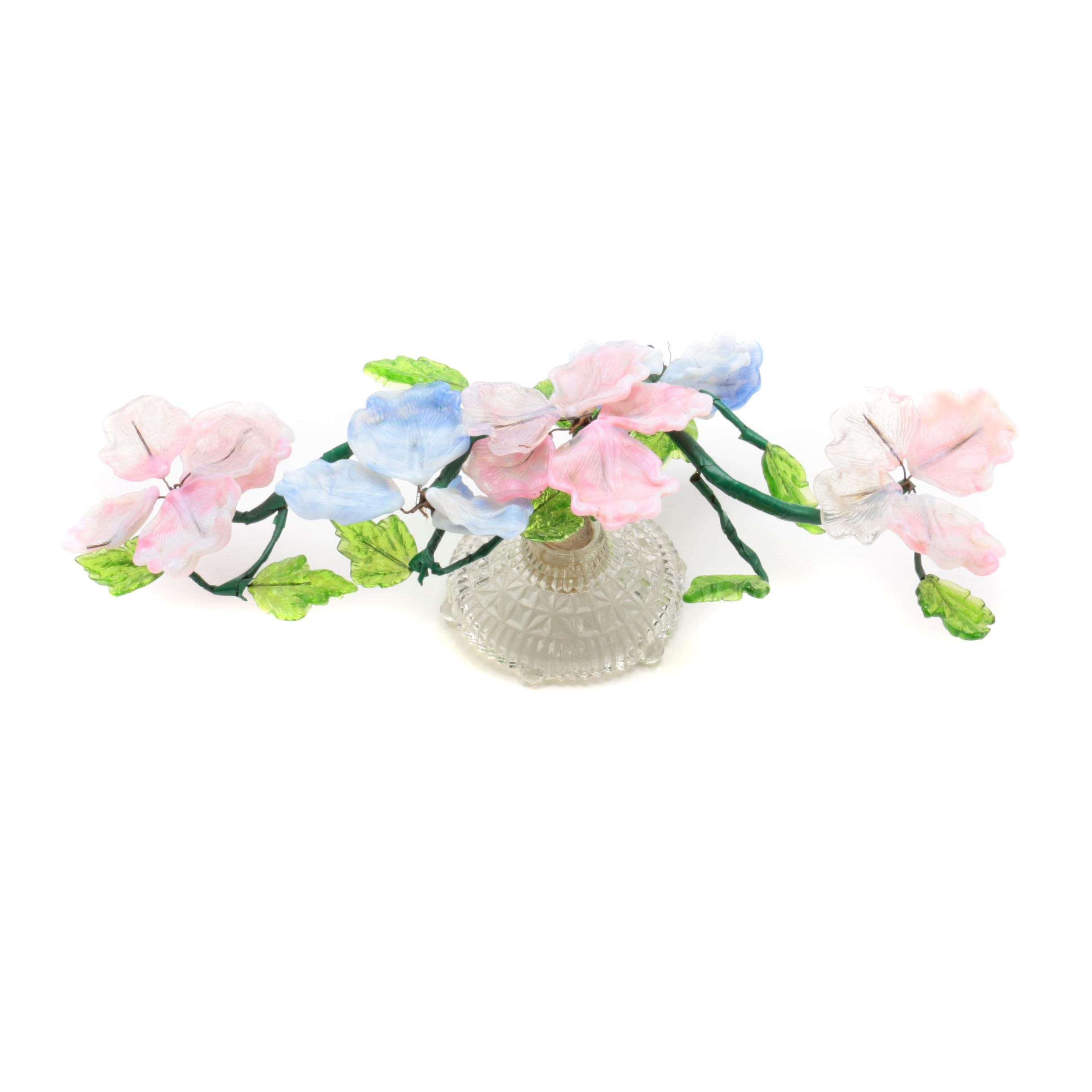 Vintage Glass Flower Bouquet Centerpiece