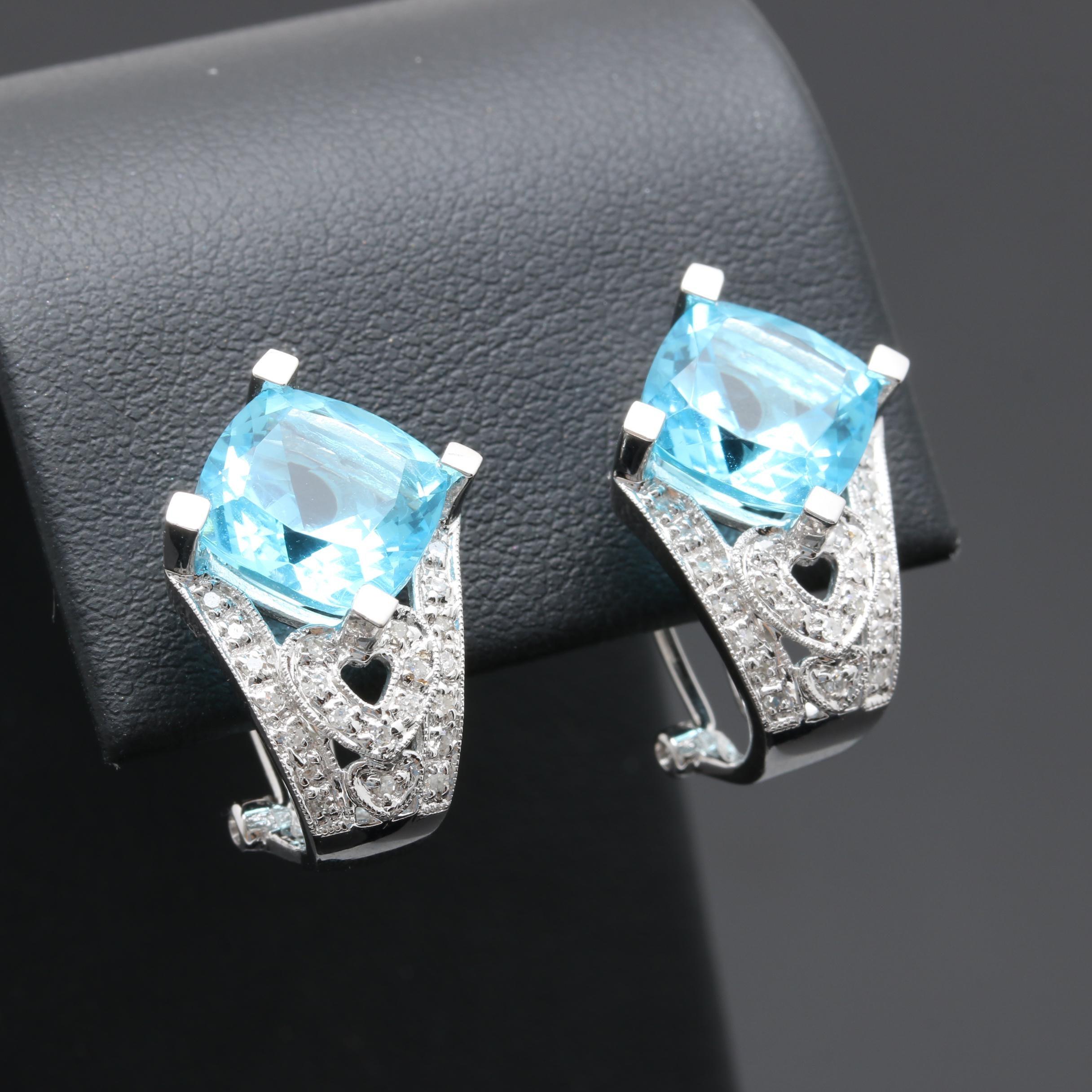 14K White Gold Blue Glass and Diamond 'J' Hoop Earrings