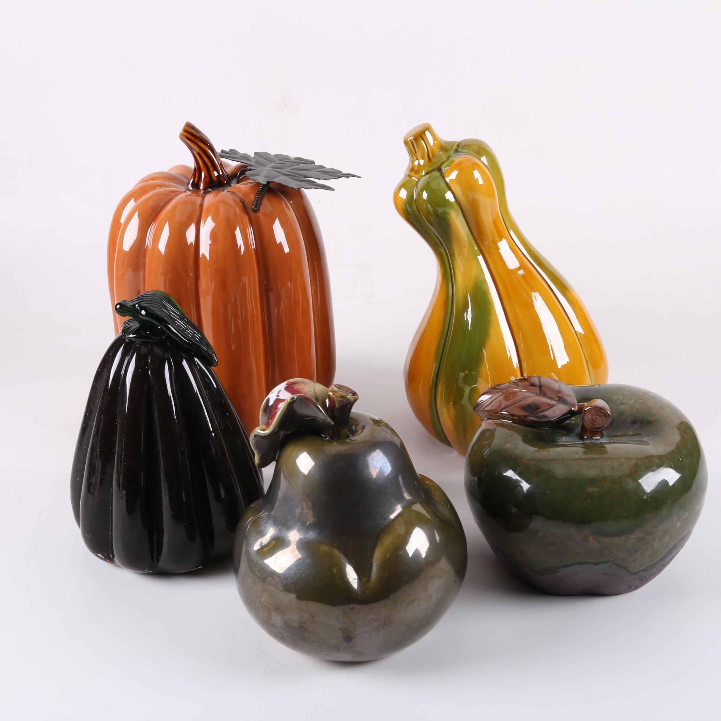 Ceramic and Metal Decorative Fruit Featuring Harvest