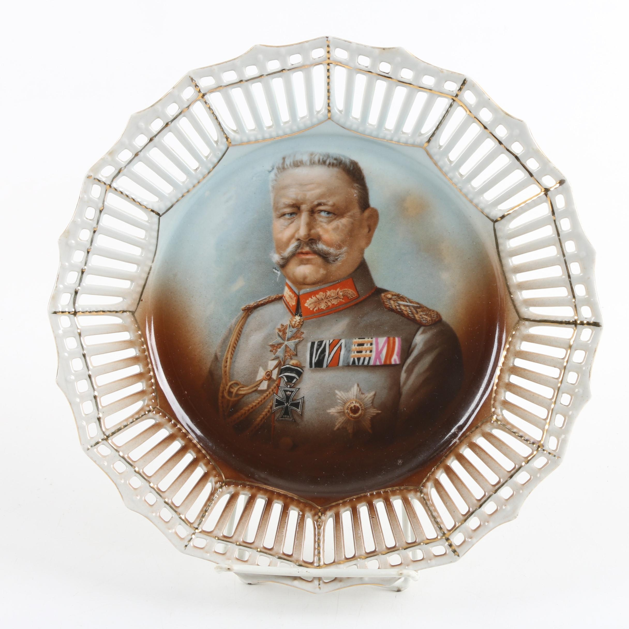 World War One General Paul von Hindenburg Commemorative Plate