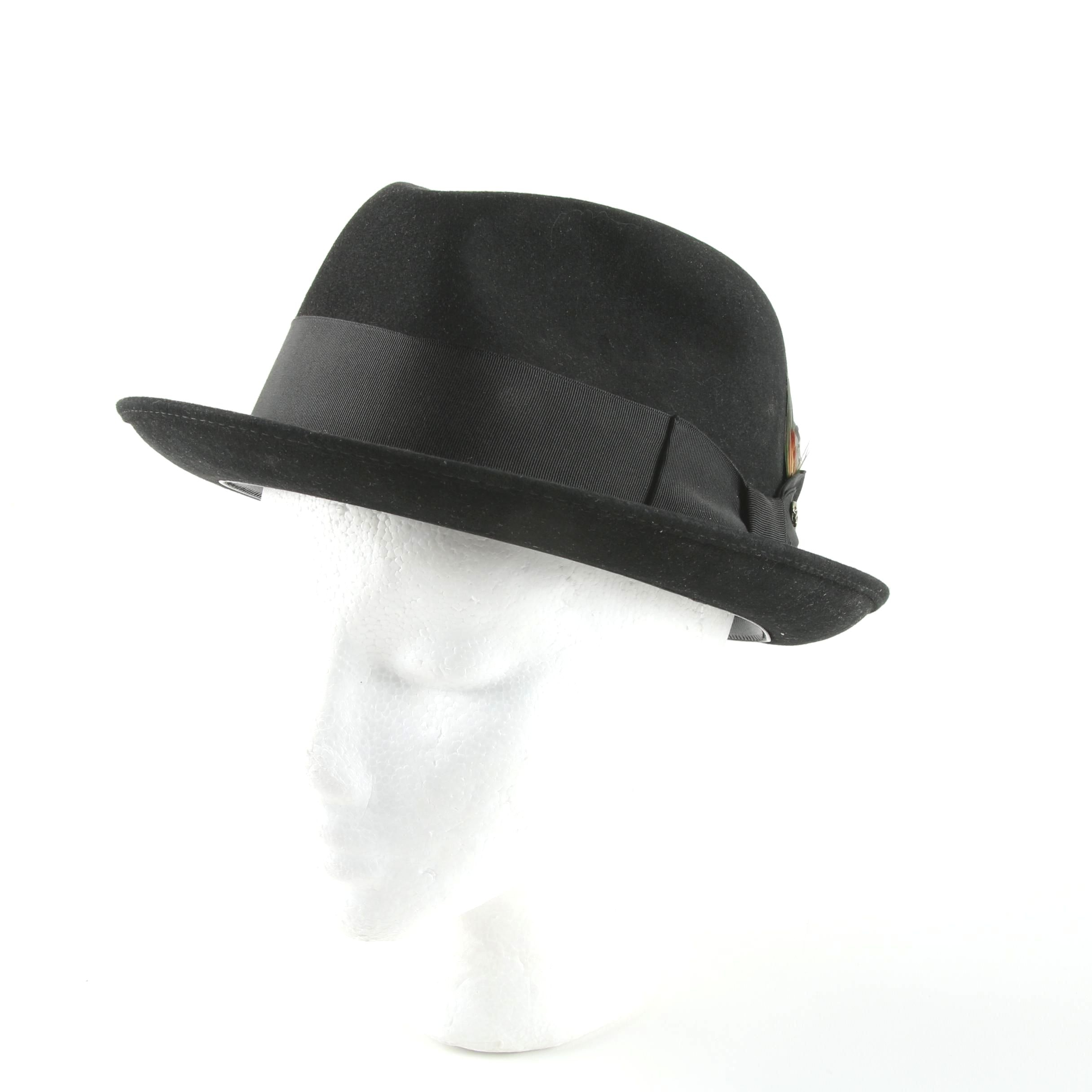 Men's Adam Premier Black Felted Fedora Hat with Wide Grosgrain Band and Feather