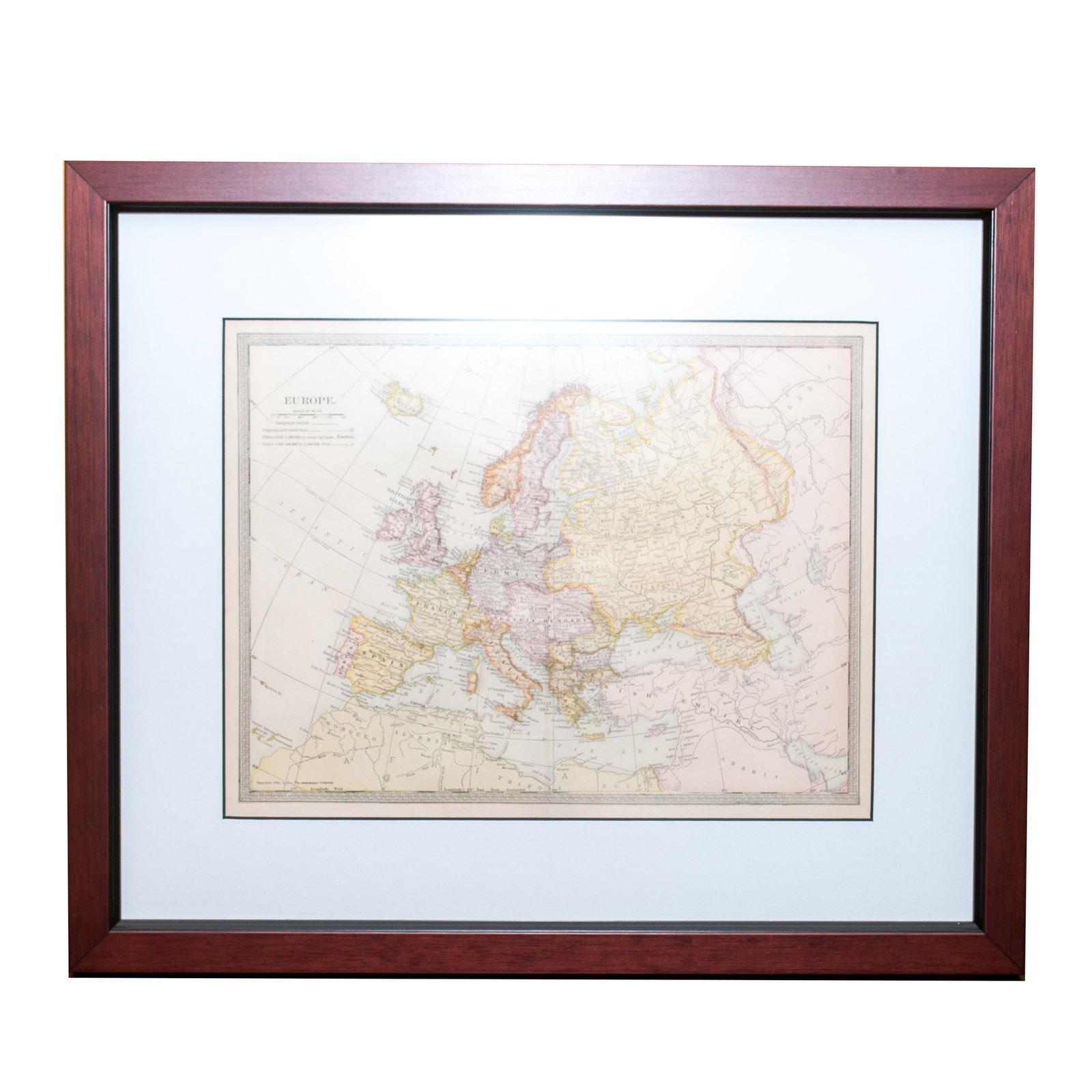 1903 Framed Map of Europe