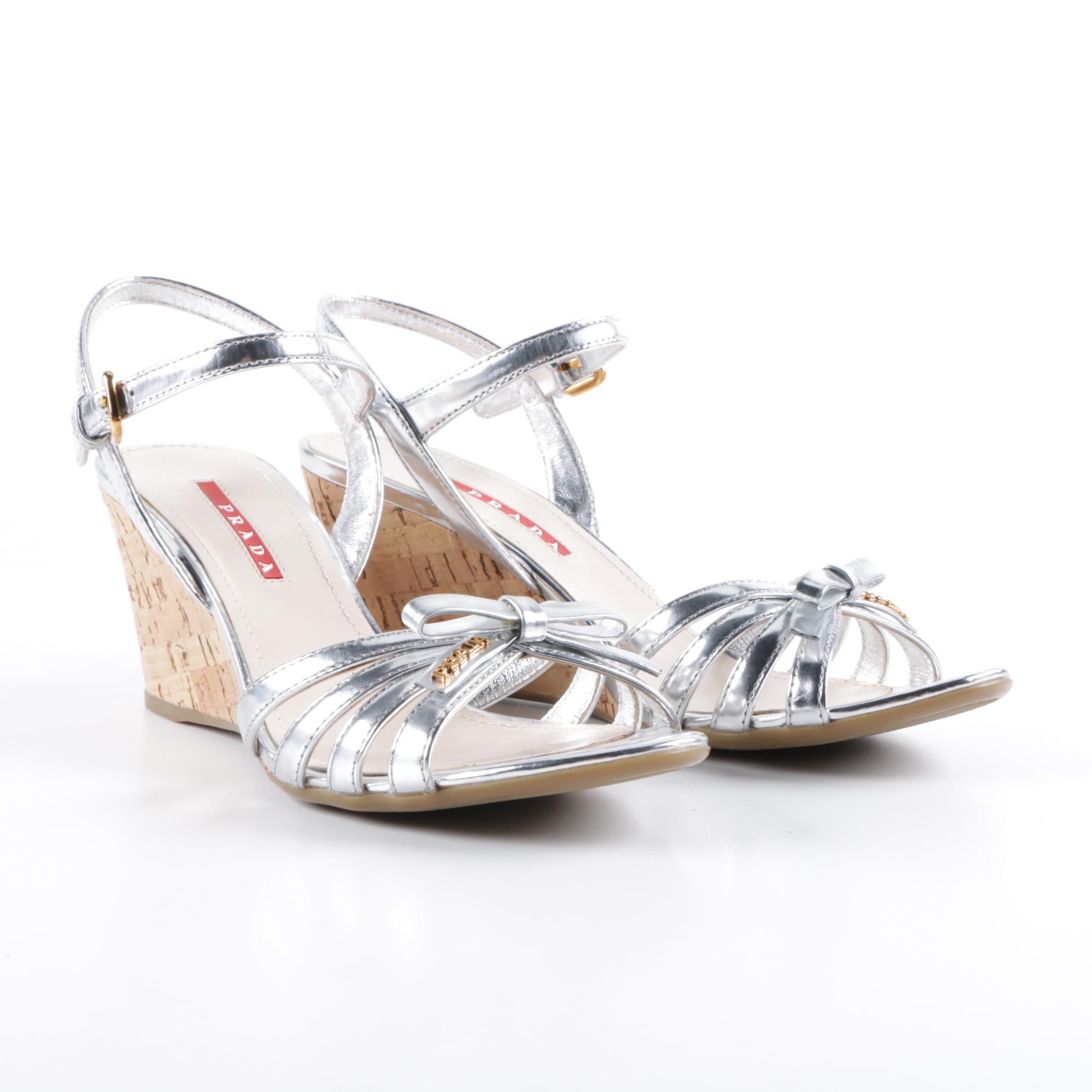 Prada Silver Metallic Leather and Cork Wedge Sandals