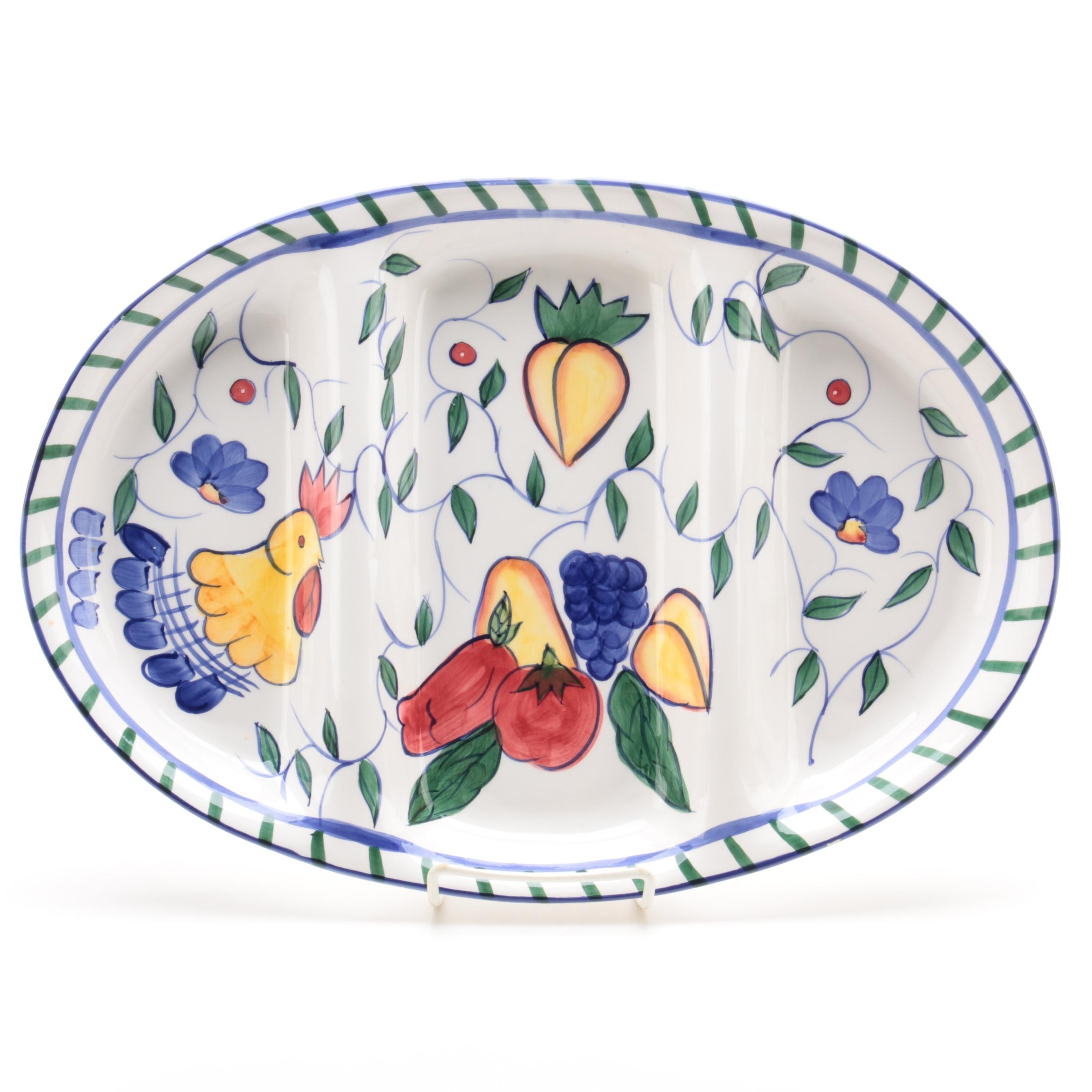 "Style-Eyes ""Rooster & Fruits"" Ceramic Serving Tray"